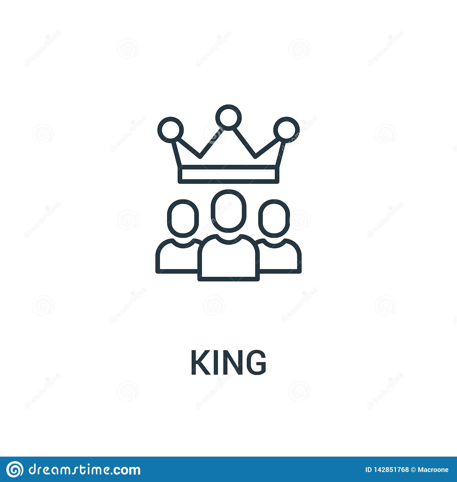 king icon vector from ads collection. Thin line king outline icon vector illustration. Linear symbol for use on web and mobile