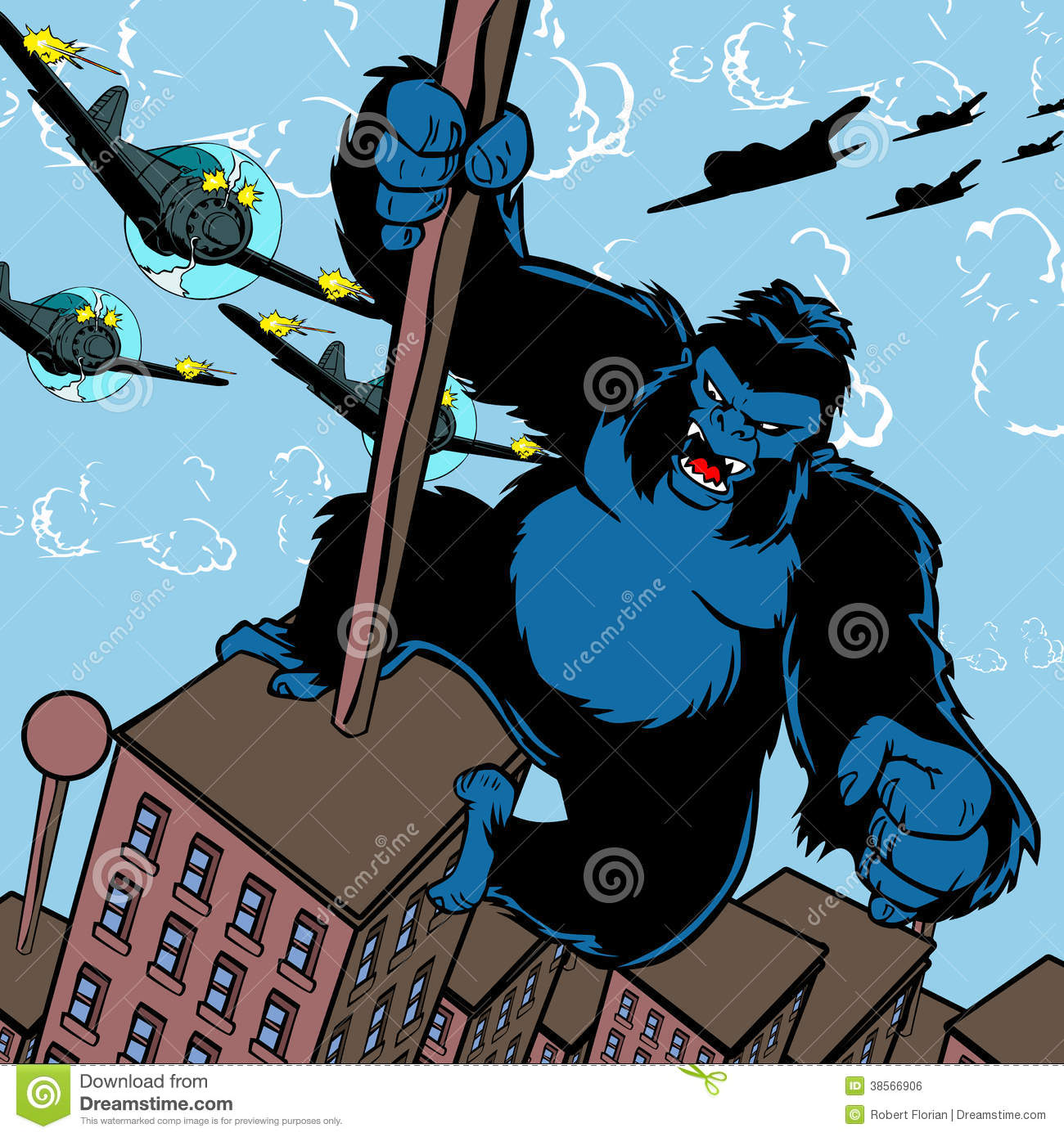 King Kong Attacked By Planes. Stock Illustration