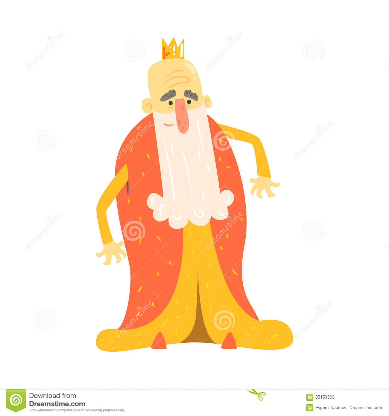 King With Long Beard In Red Mantle Standing Fairy-Tale Cartoon