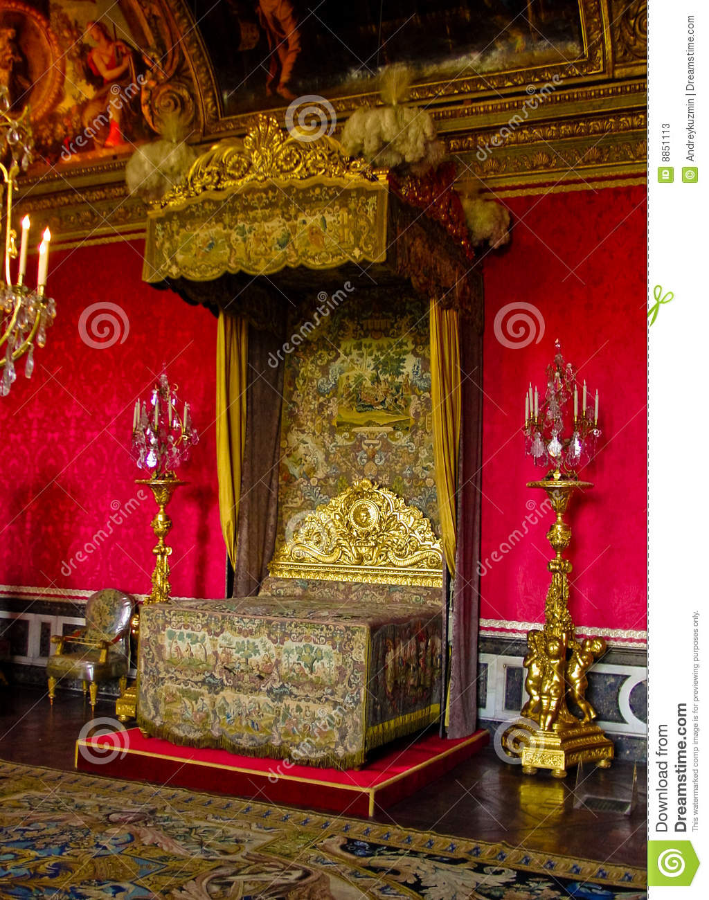 The King Louis Xiv Bedchamber Versailles France Stock