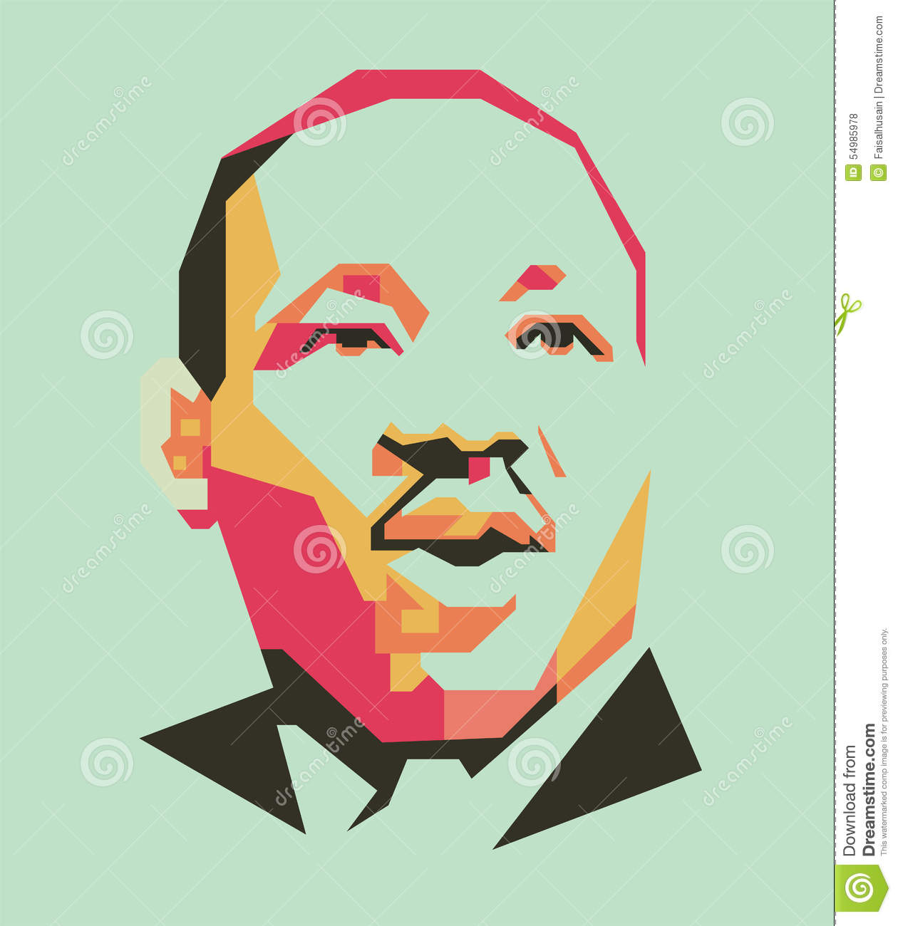 King Martin Luther Simple Line And Simple Colour Vector Portrait Eps