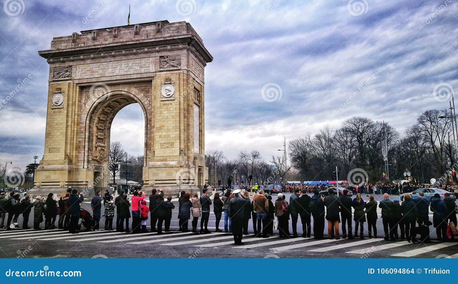 King Mihai I Funerals - Arch de Triumph Bucharest Romania
