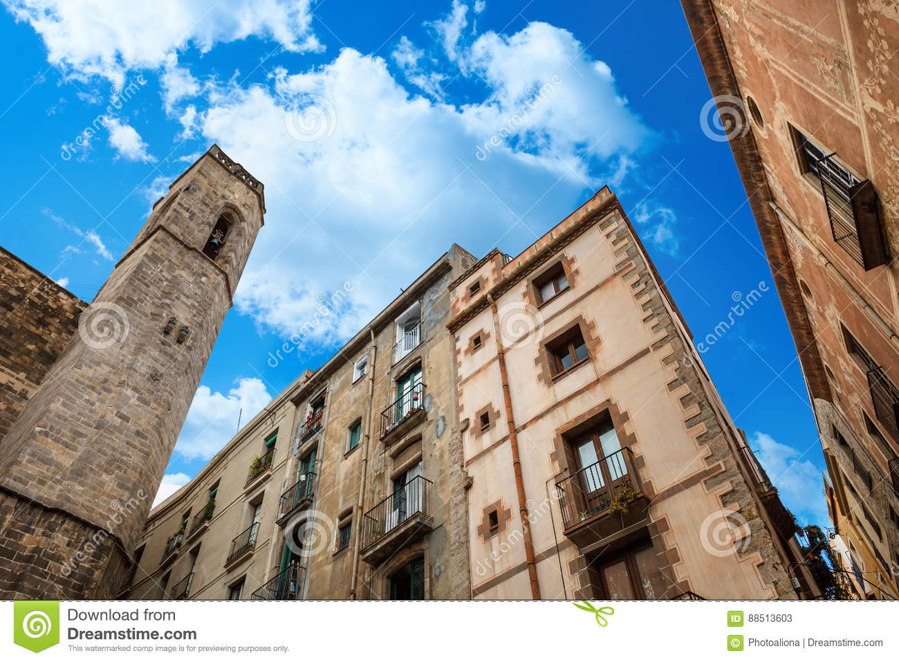 King Palace in Barcelona: medieval Palau Reial Royal Palace in catalan at Placa del Rei King`s Square