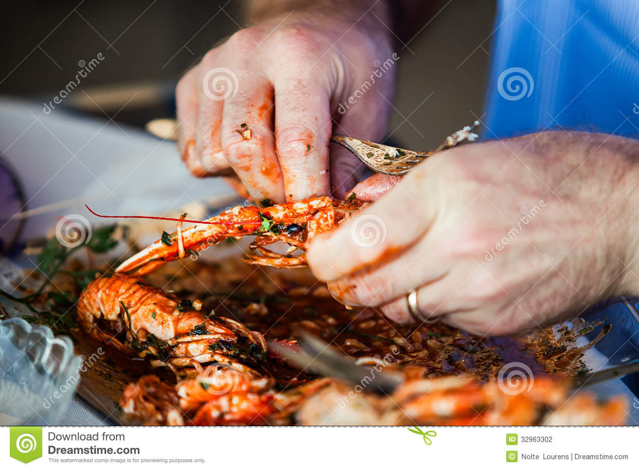 King Prawns And Oily Fingers Stock Photography - Image: 32963302