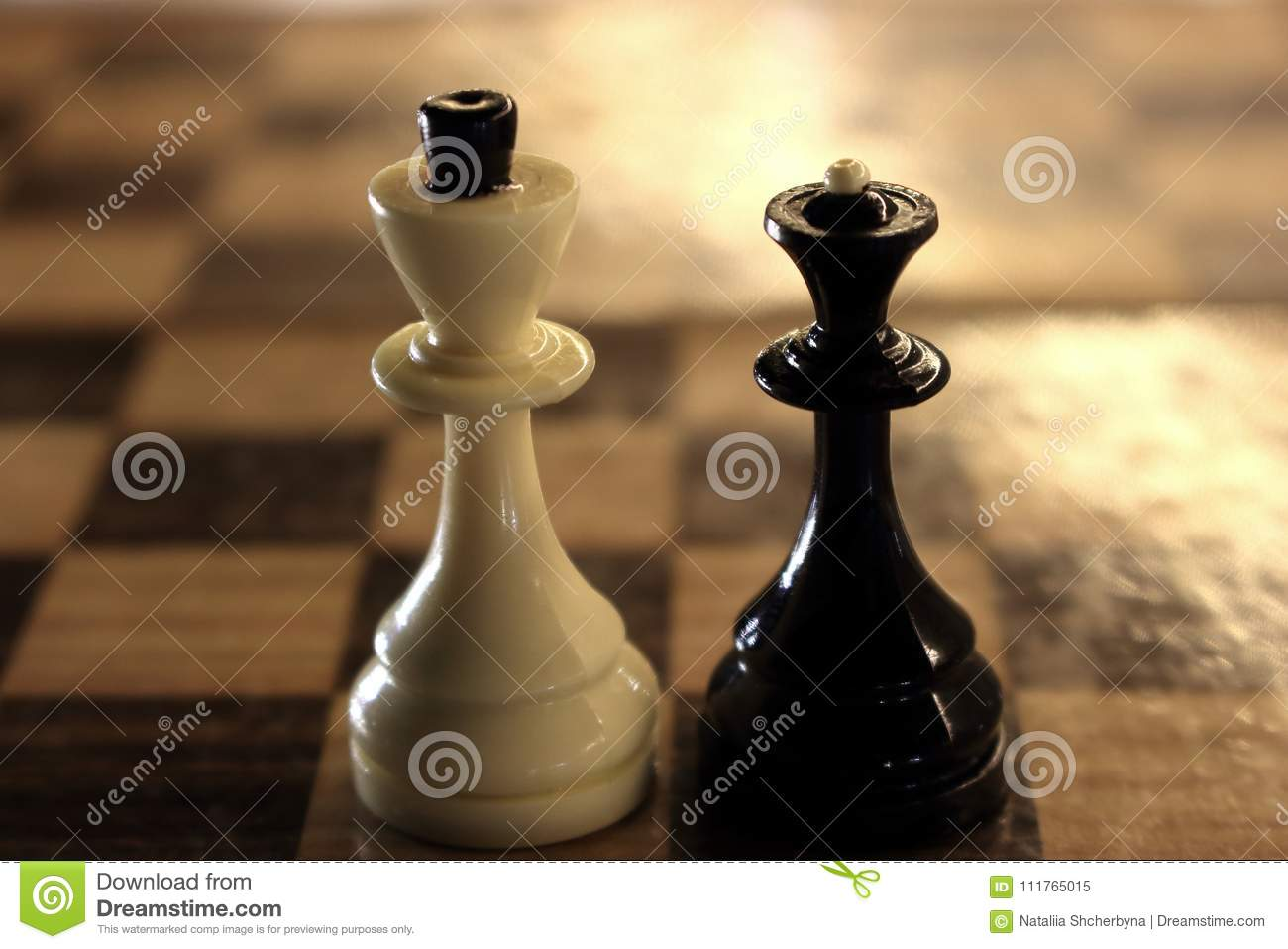 King and queen chess figures on chessboard white king and black queen competition and