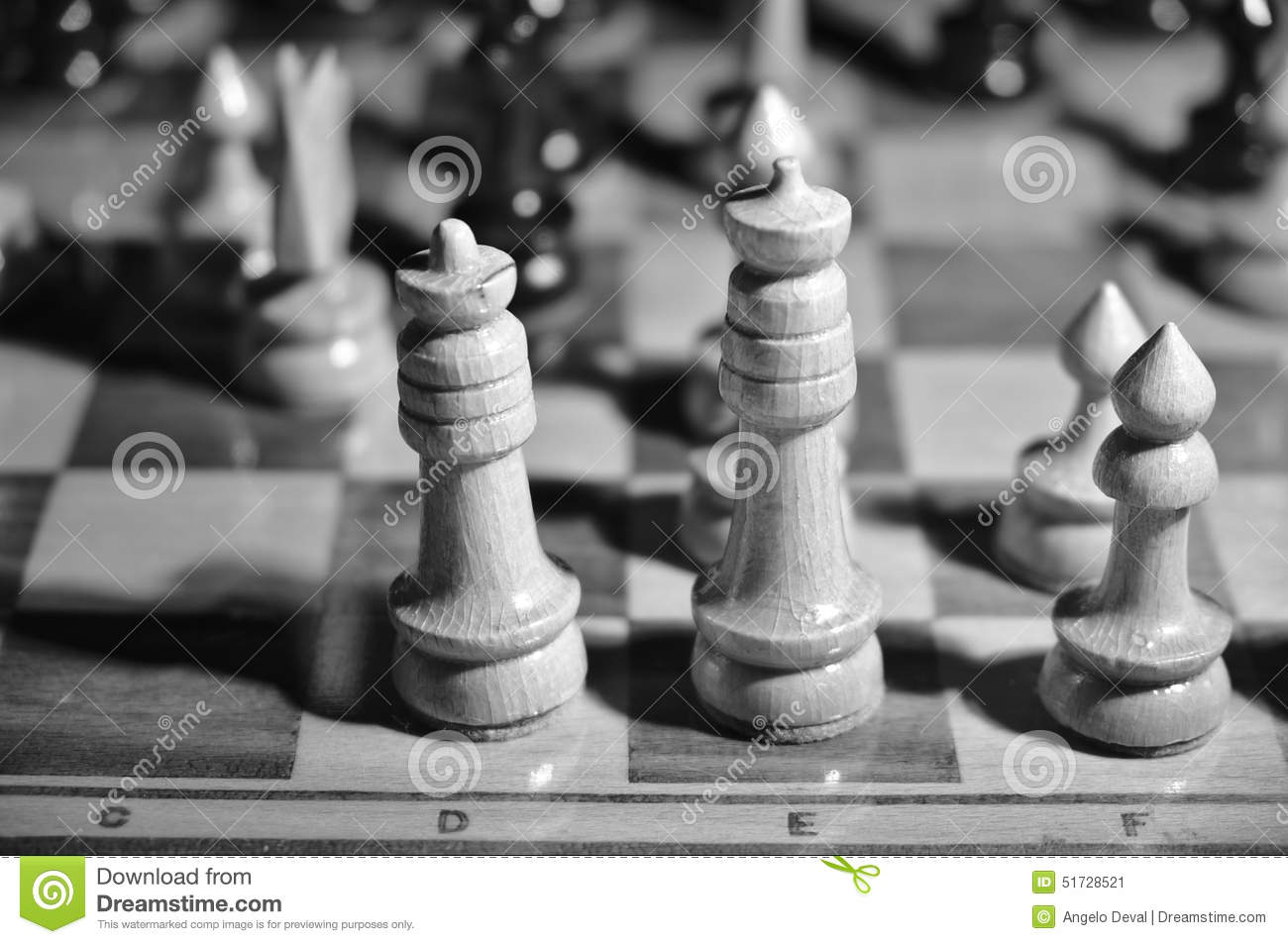 King and queen side by side on a chessboard black and white photograph
