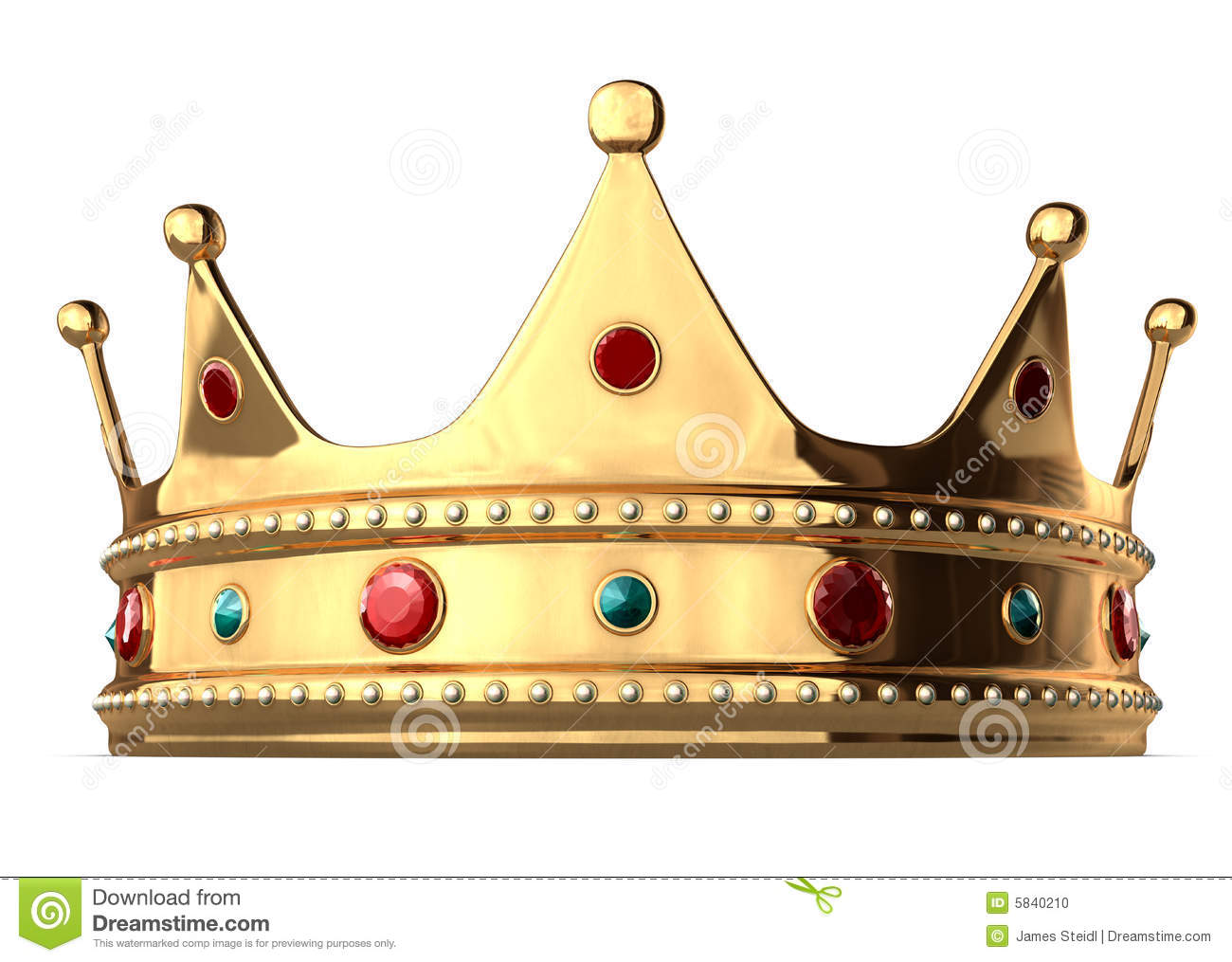 King s golden crown on a white background includes clipping path