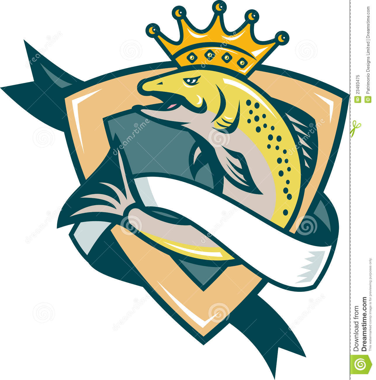 King salmon fish jumping shield royalty free stock photo for Fishing kings free