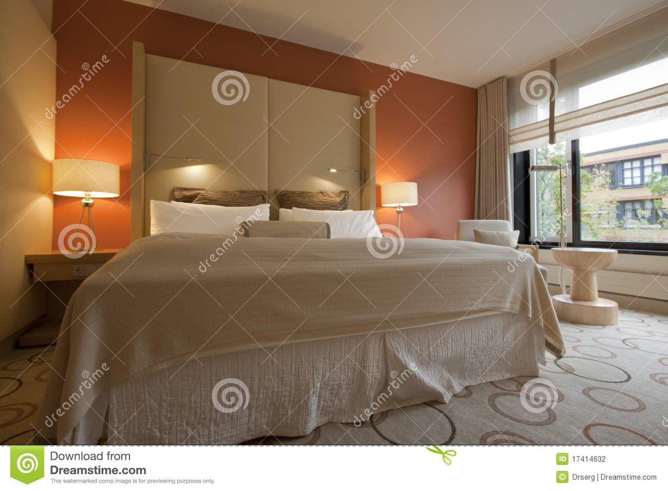 King size bed with bedside table and lamps stock photography royalty free stock photo download king size bed with bedside table and lamps geotapseo Gallery