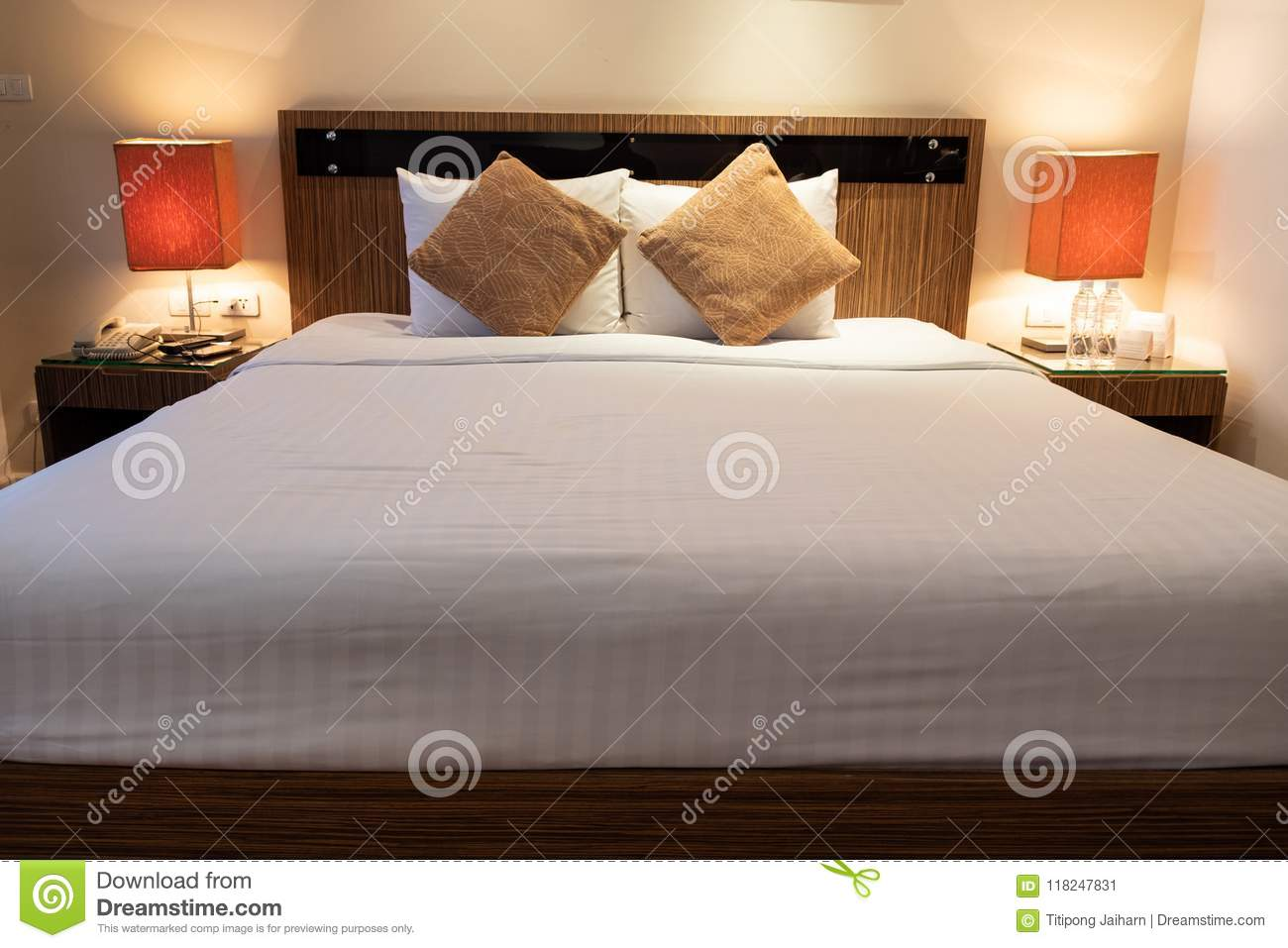 king size bed in luxury romantic room holtel stock image image of