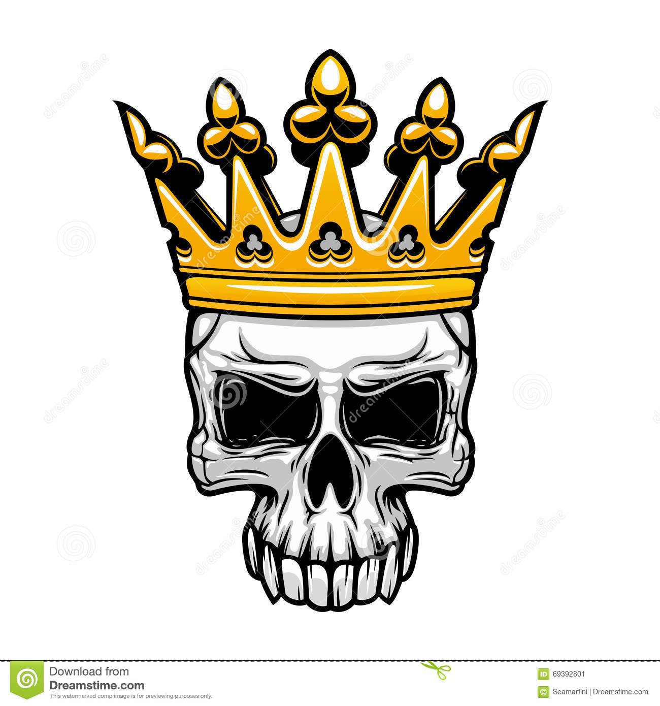 king skull symbol of spooky human cranium with royal gold crown ...