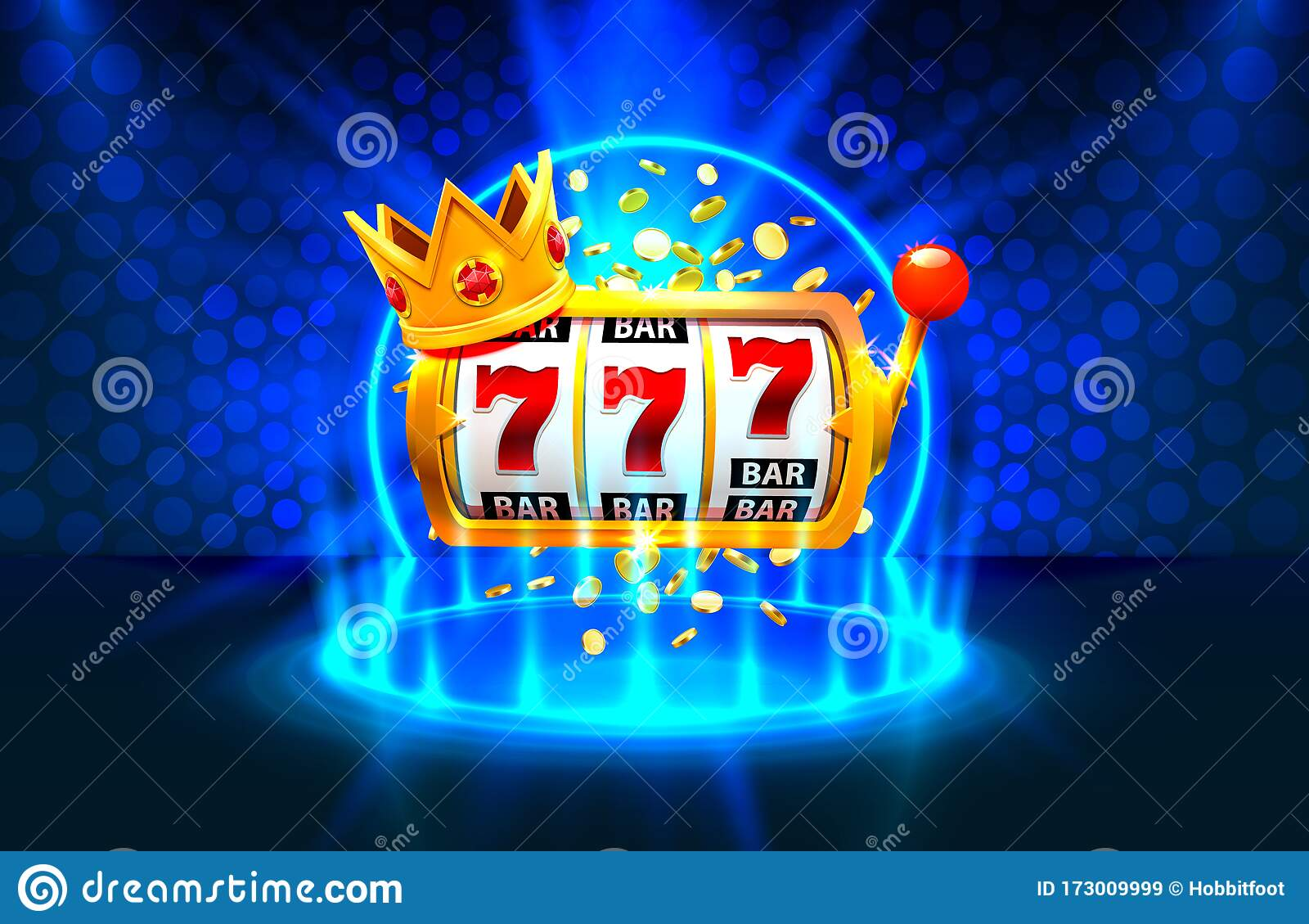 King Slots 777 Banner Casino On The Blue Background Stock Vector