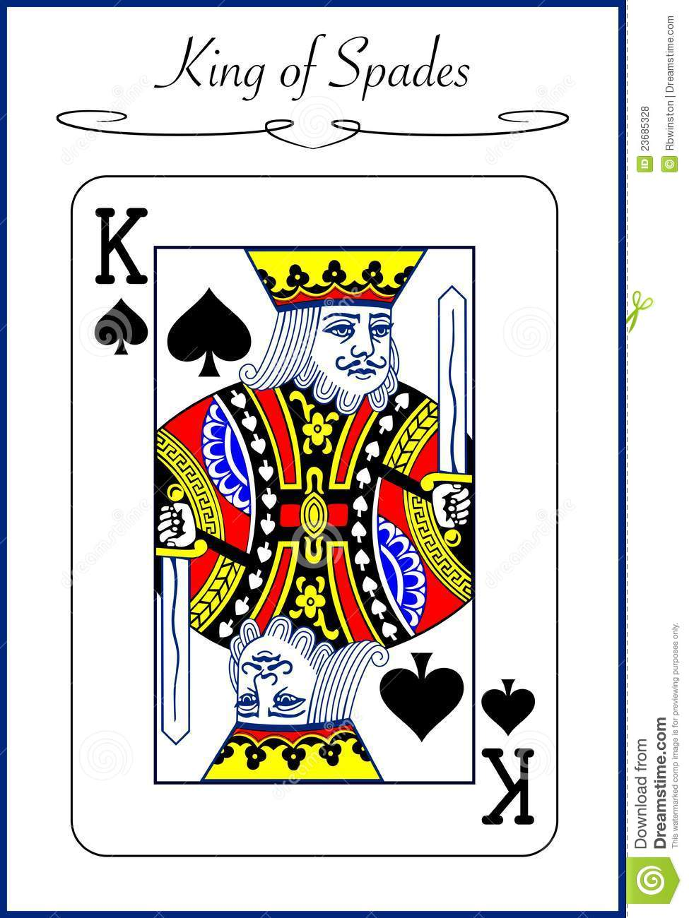 King Of Spades Illustration Of A Playing Card Stock Vector