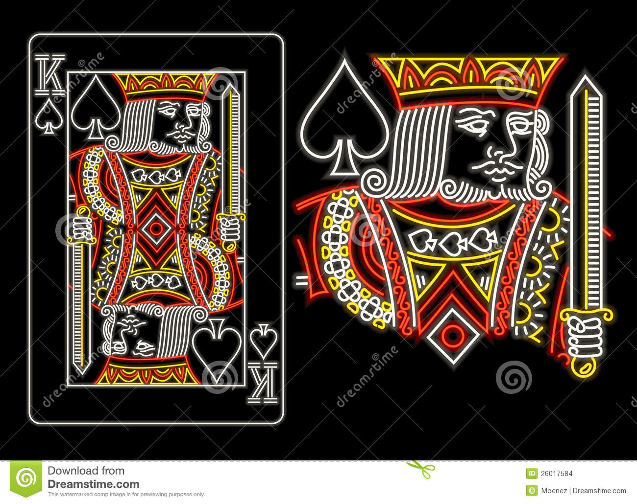 King Of Spades In Neon Stock Vector Illustration Of Entertainment
