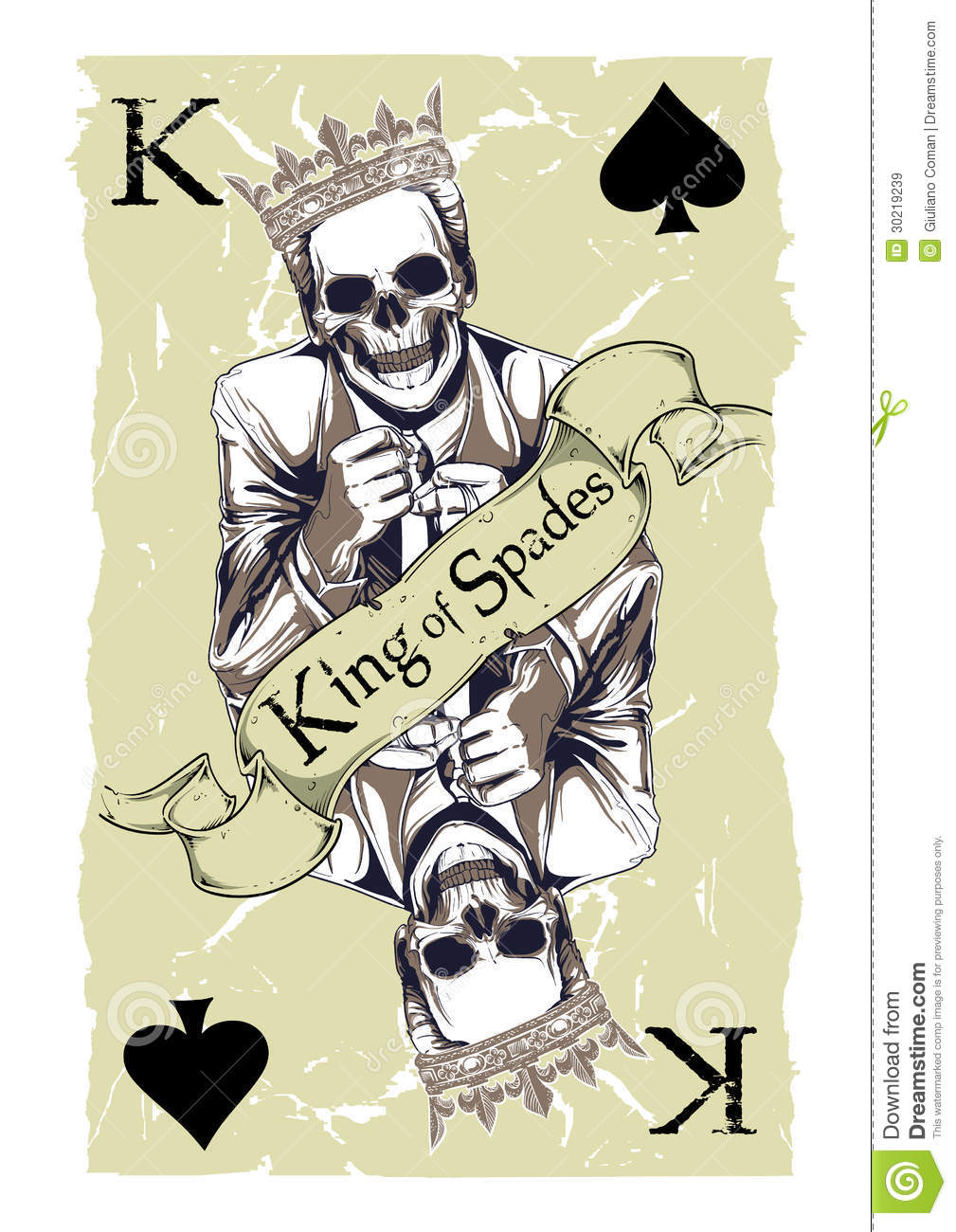 King Of Spades Stock Vector Illustration Of Number Black 30219239
