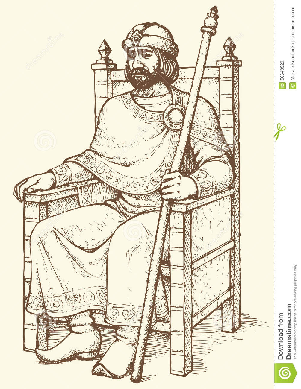 King on throne vector drawing stock vector image 56643529 for Throne chair plans