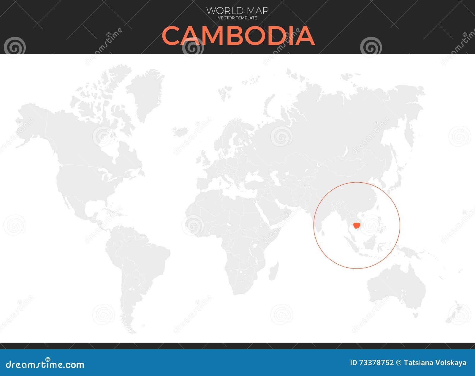 Kingdom Of Cambodia Location Map Stock Vector - Illustration ...