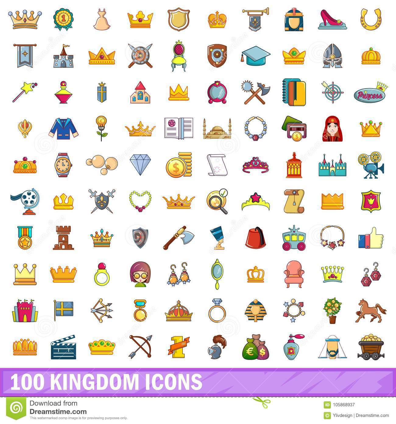 100 Kingdom Icons Set, Cartoon Style Stock Vector