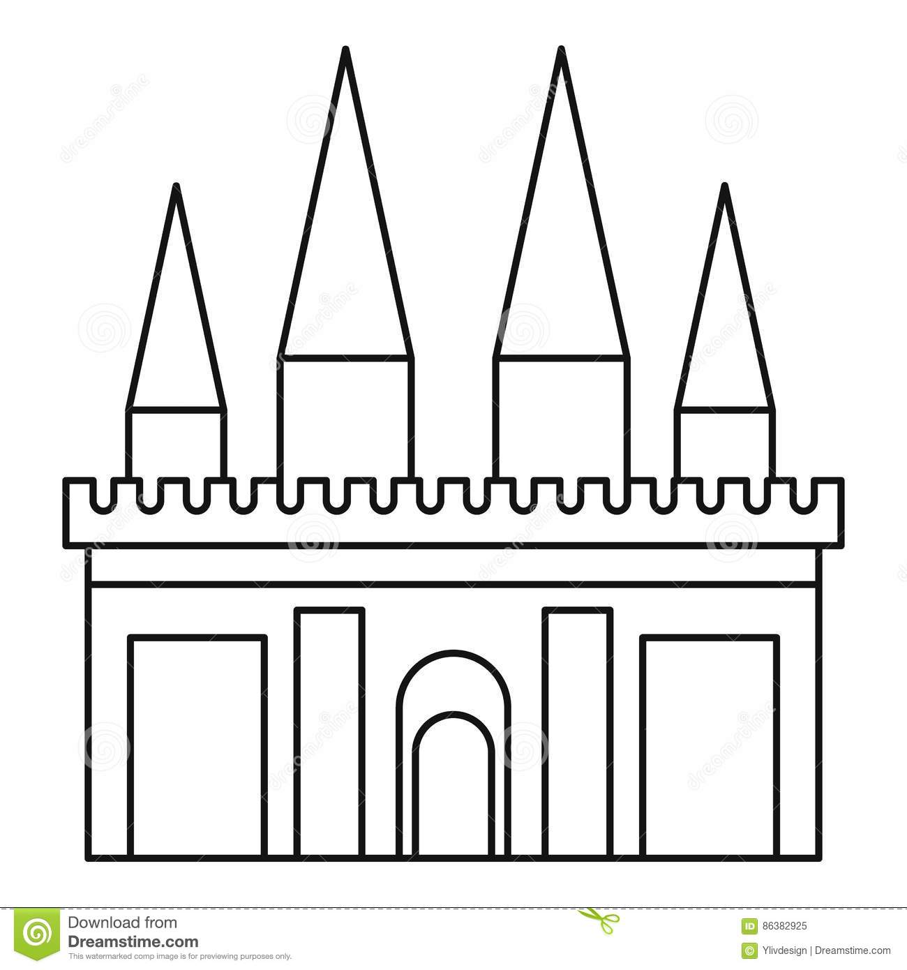 Kingdom palace icon outline style cartoon vector for Decor outline