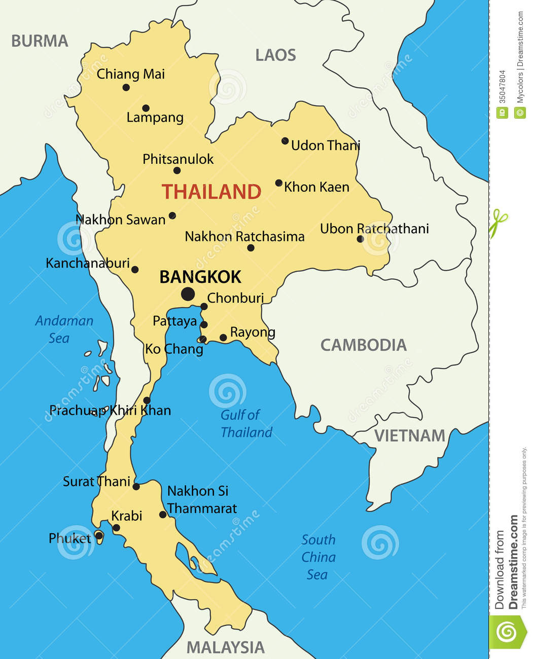 Thailand: Vector Map Stock Vector