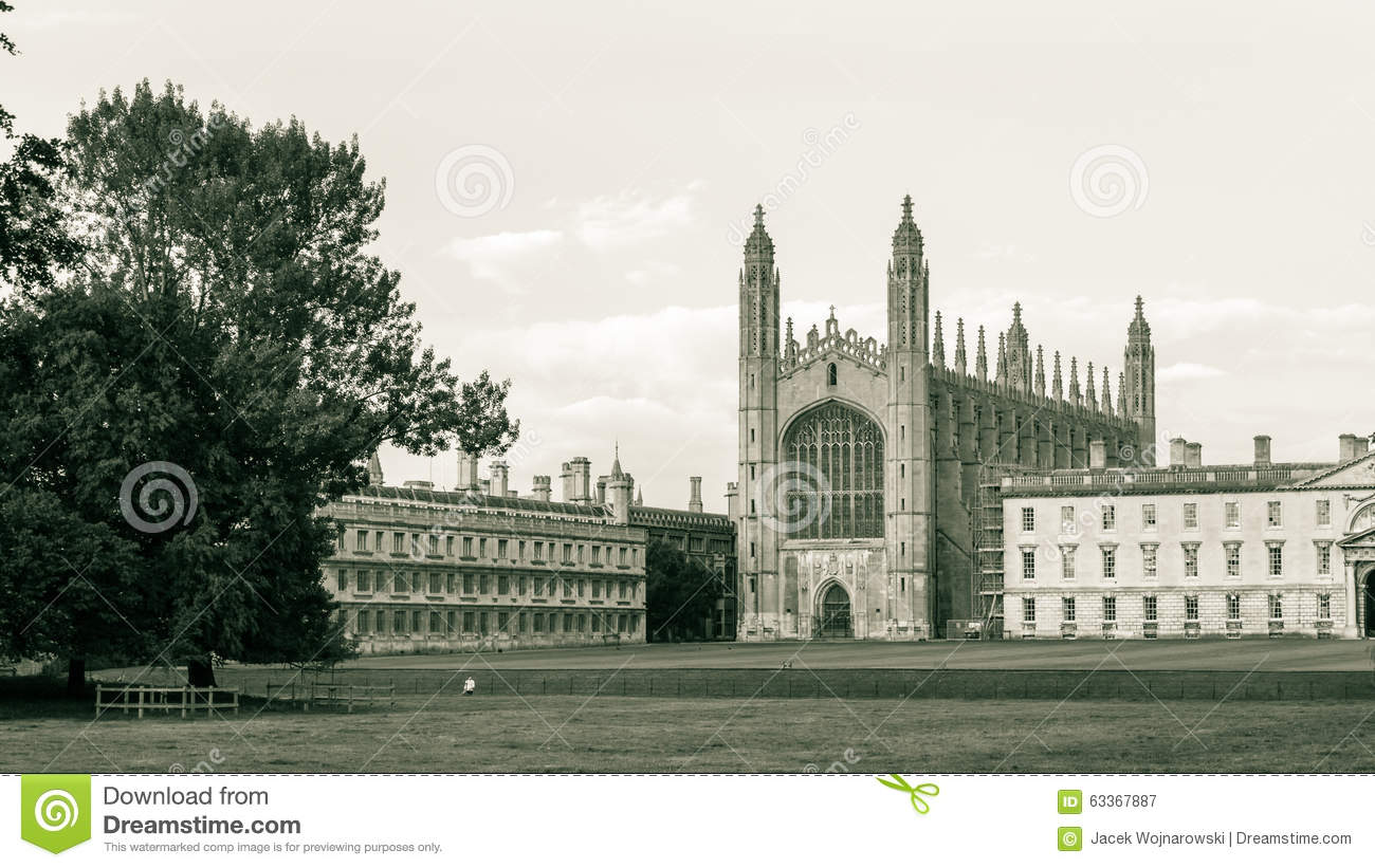 England cambridge 24 aug 2014 kings college chapel partially obscured by the gibbs building seen from the backs black and white photography