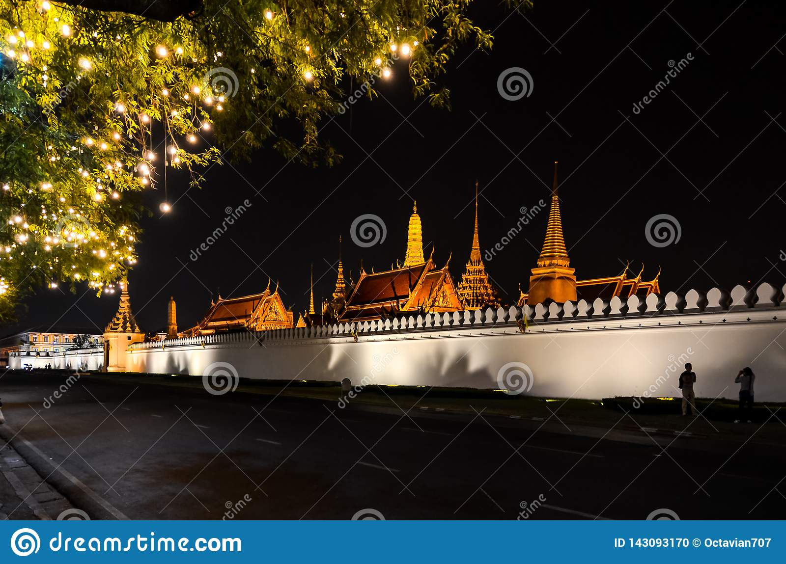 Kings palace from outside in Thailand at night