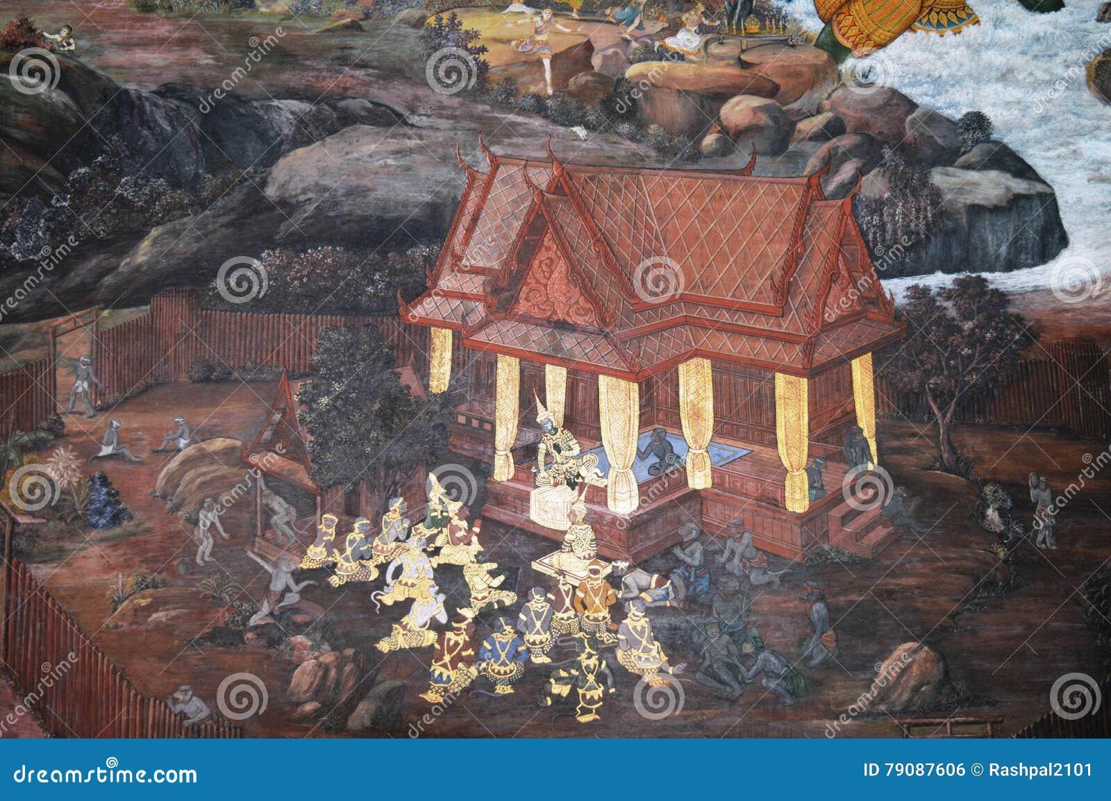 KINGS PALACE PAINTING ON THE WALL IN BANGKOK THAILAND