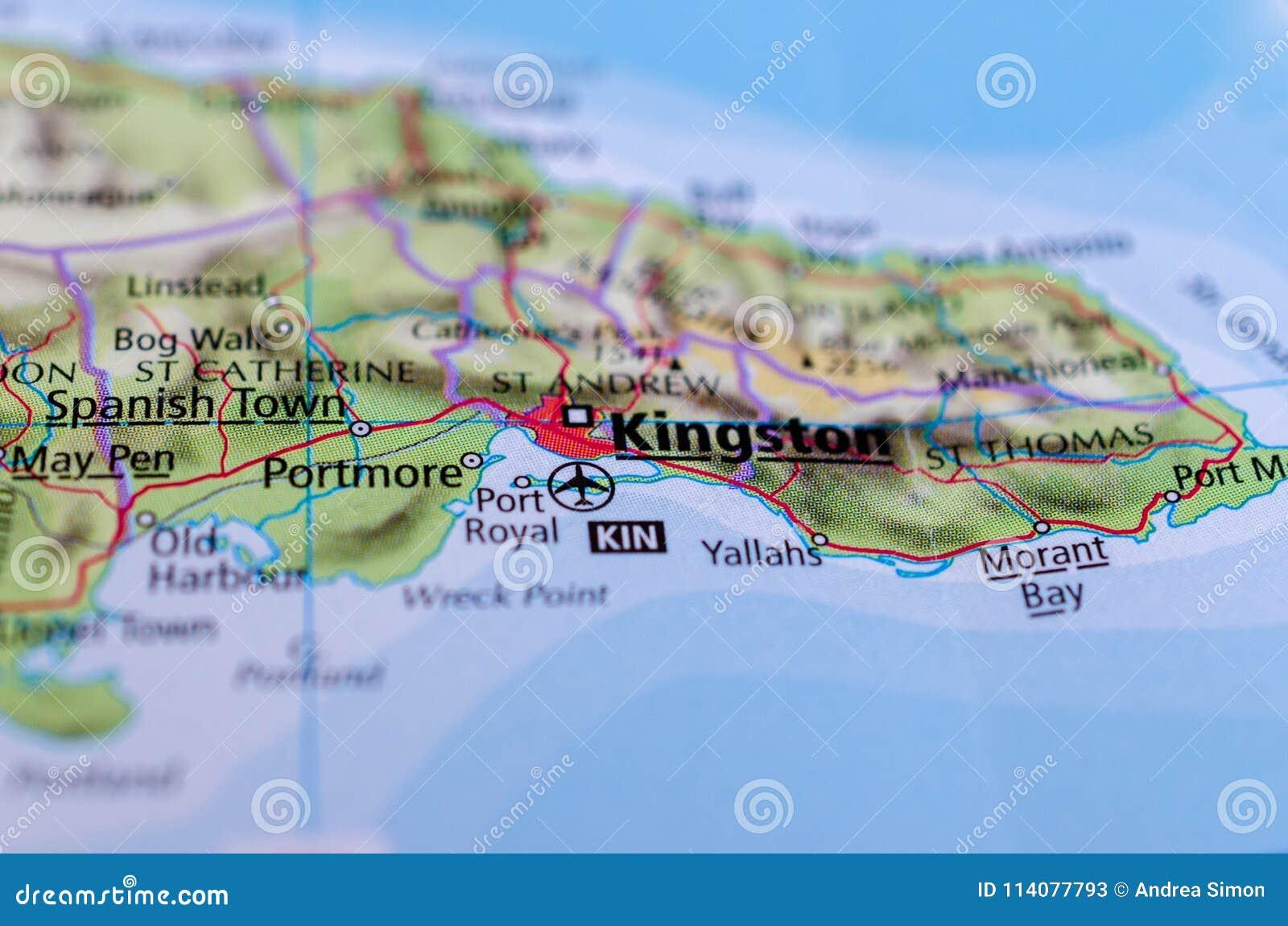 Kingston, Giamaica sulla mappa