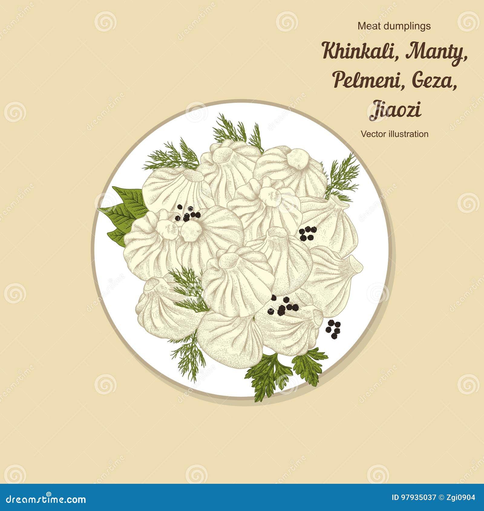 Kinkali, manti, bollen Geza, Jiaozi Pelmeni Russische pelmeni op een plaat Voedsel Pelmeni Russische pelmeni op een plaat Voedsel