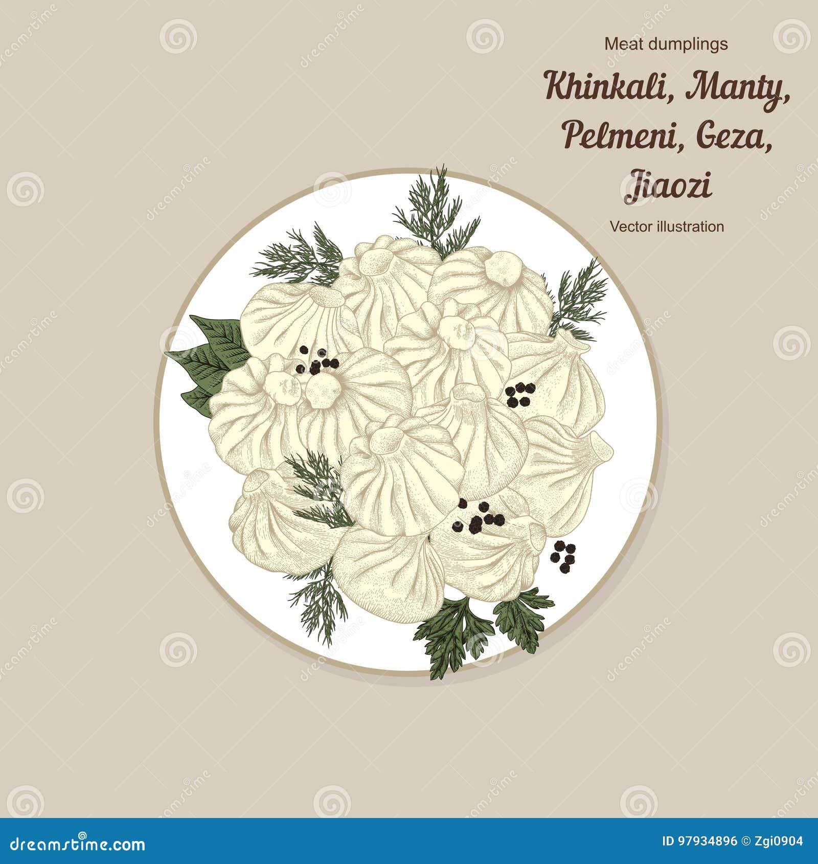 Kinkali, manti, kluchy Geza, Jiaozi Pelmeni Mięsne kluchy Jedzenie Pelmeni Mięsne kluchy Jedzenie Koper,