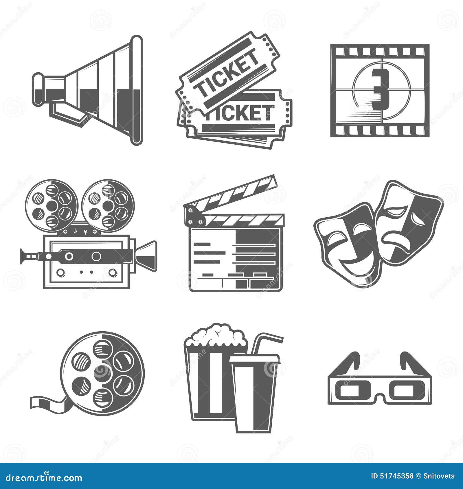 Kinowe ikony Ustawiać (megafon, bilety, odliczanie, kamera, Clapper deska, maski, bobina, popkorn, napój i szkła,)