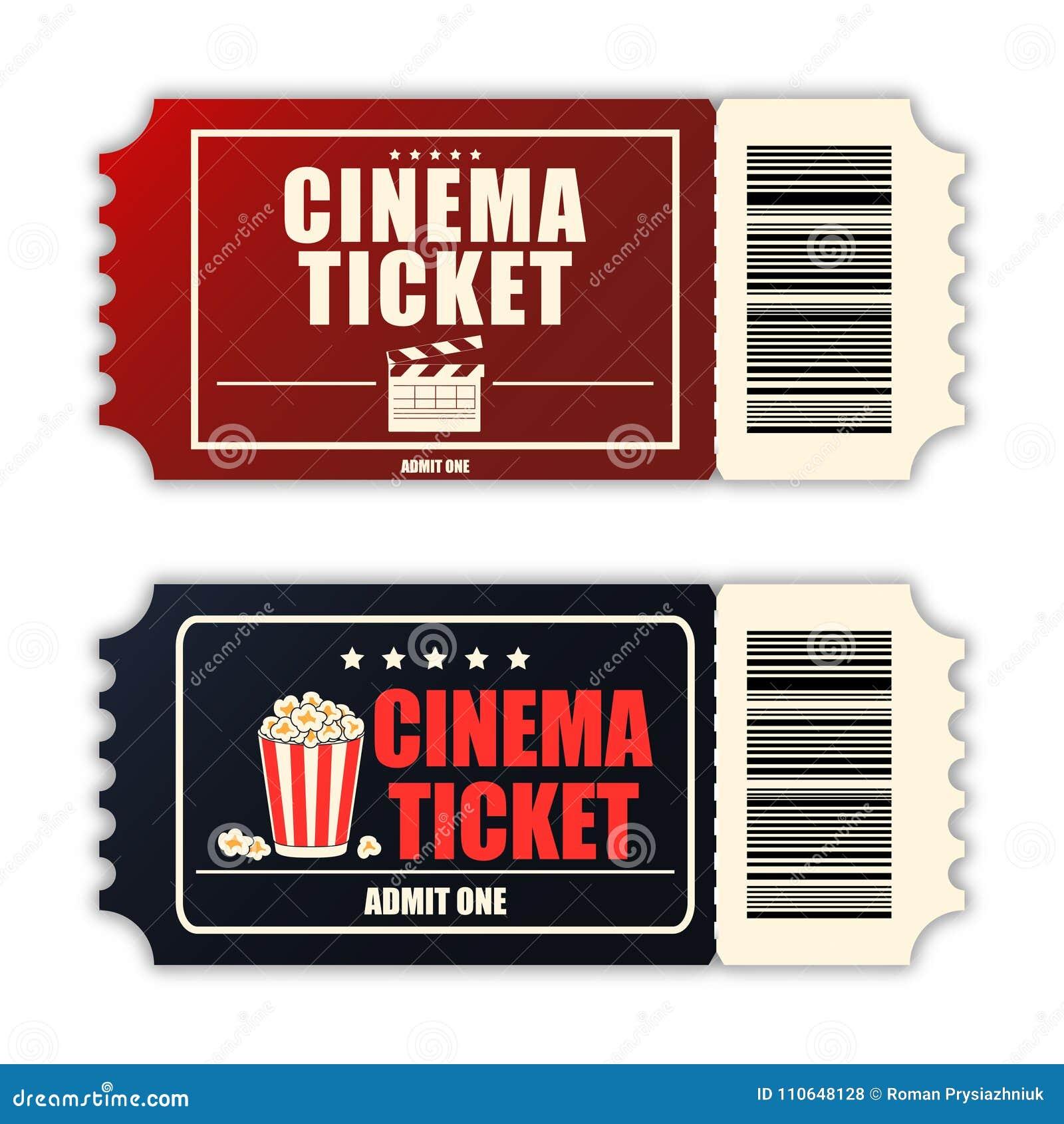 Kinowy bileta set Szablon dwa realistycznego filmu bileta odizolowywającego na białym tle wektor