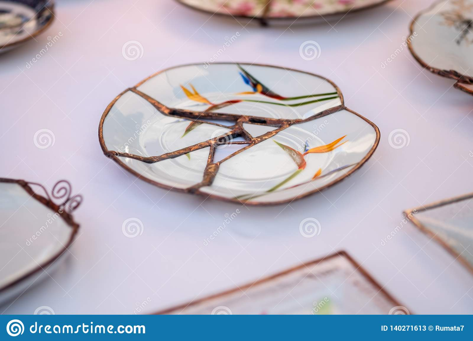 Kintsugi Style Handcrafted Plate Sold At Handicraft Market Kintsugi Is The Japanese Art Of Repairing Broken Pottery Stock Image Image Of Traditional Copy 140271613