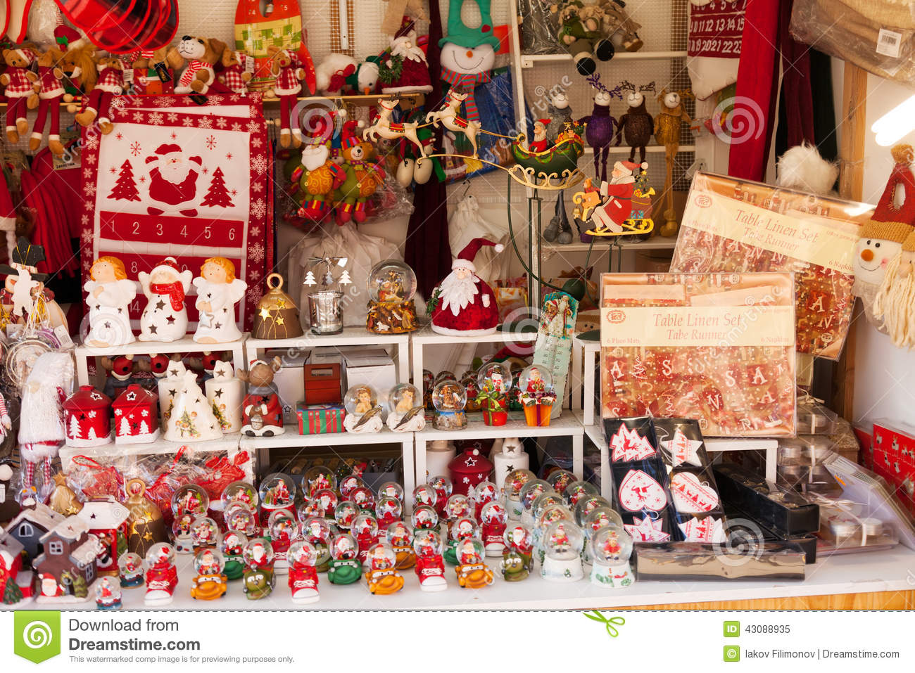 kiosk with traditional christmas gifts editorial image image of