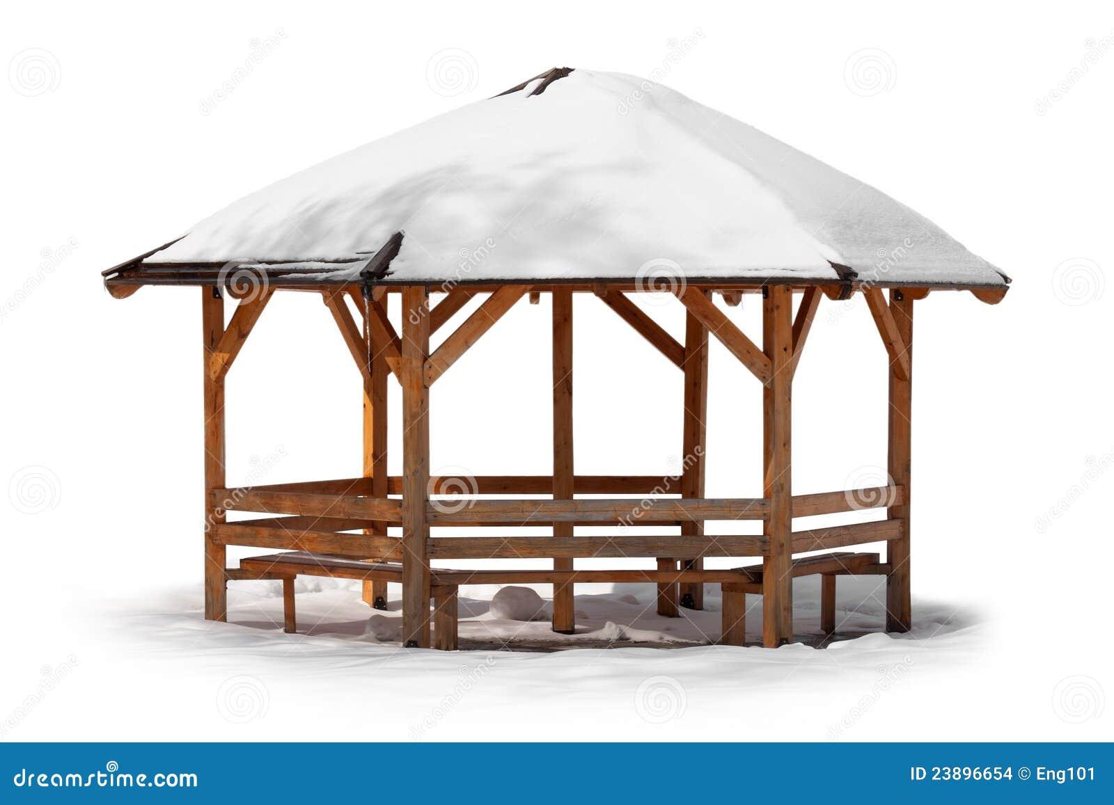 Kiosque En Bois Hexagonal kiosque de jardin dans l'hiver photo stock - image du