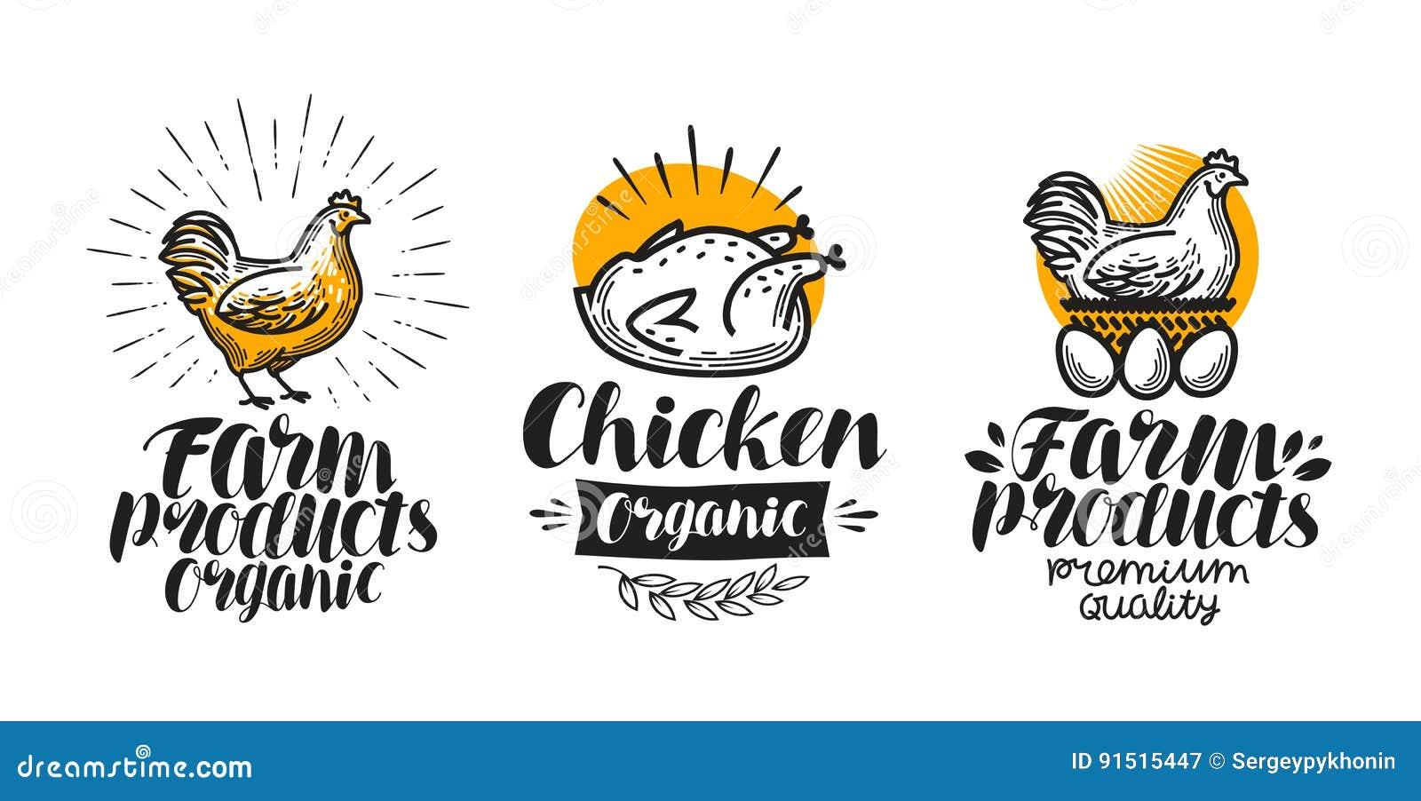 Kip, de reeks van het kippenetiket Gevogeltelandbouwbedrijf, ei, vlees, grill, jonge kippictogram of embleem Van letters voorzien