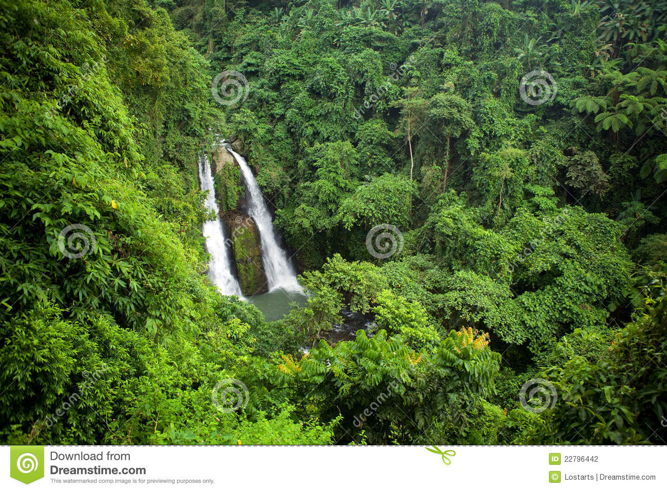Kipot Twin Falls Philippines Tropical Jungle Stock Photo