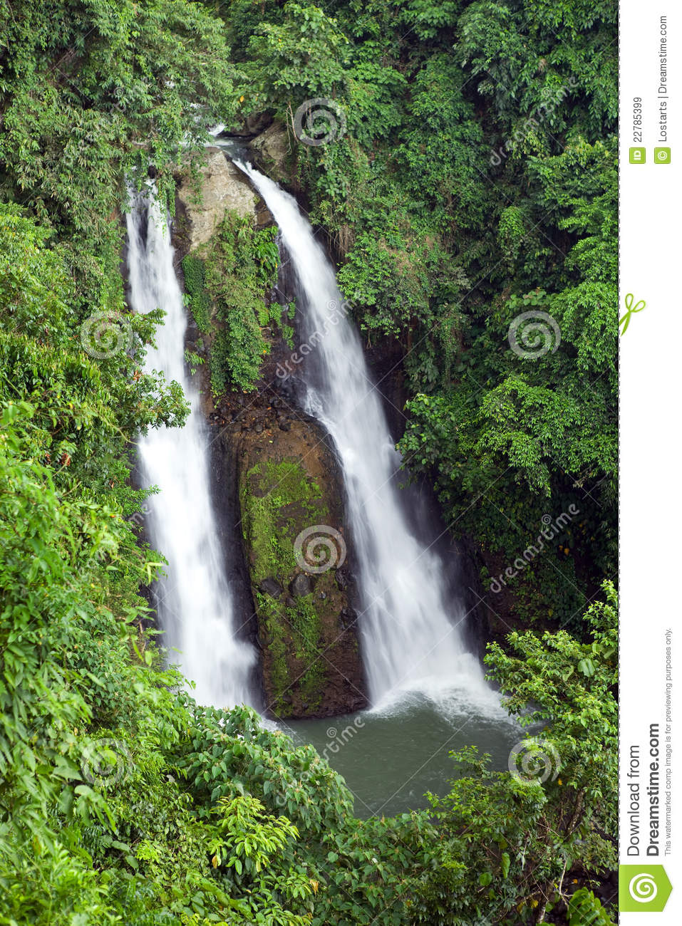Kipot Twin Waterfall In Tropical Philippine Jungle Stock