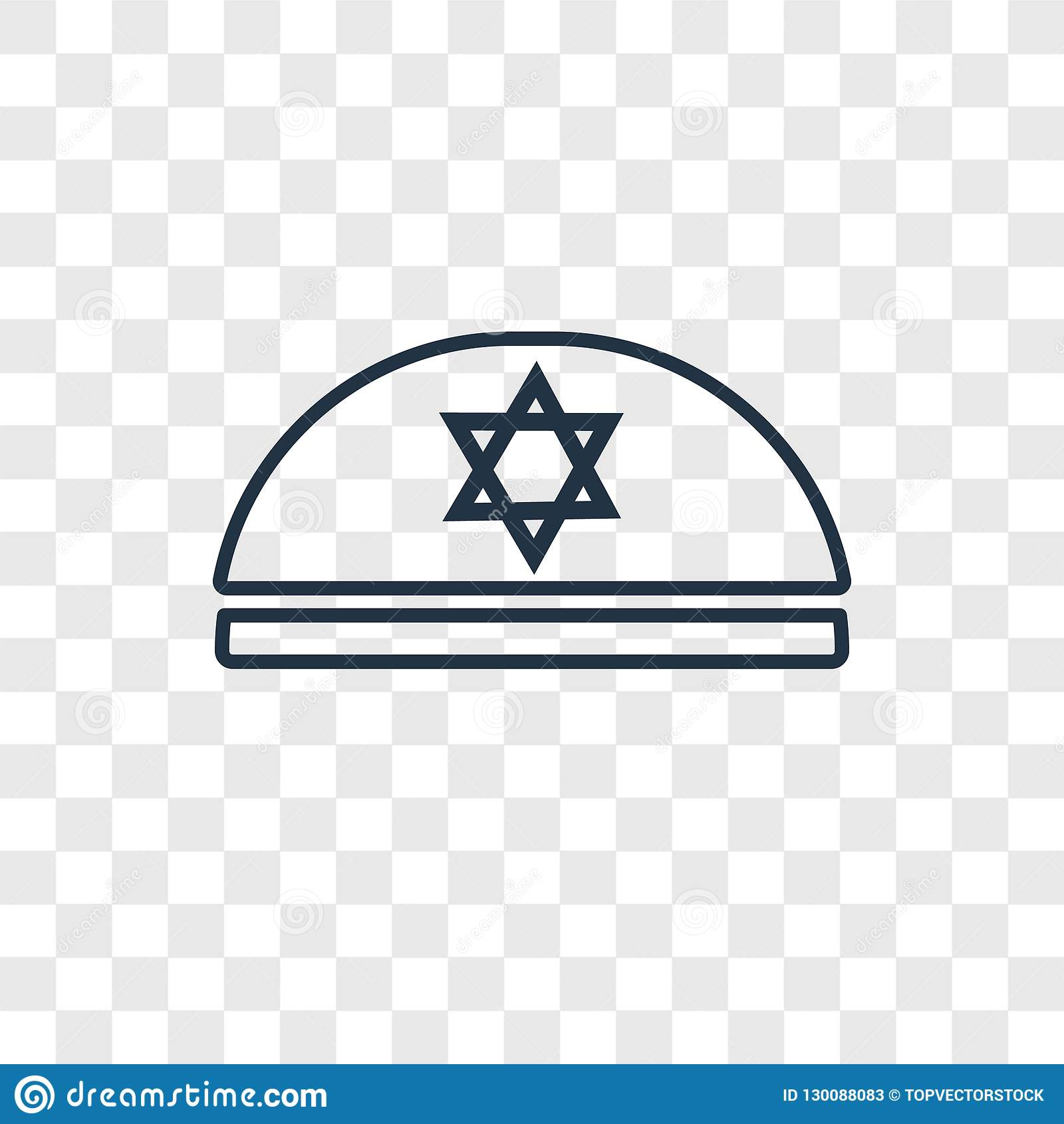 Kippah concept vector linear icon isolated on transparent background, Kippah concept transparency logo in outline style