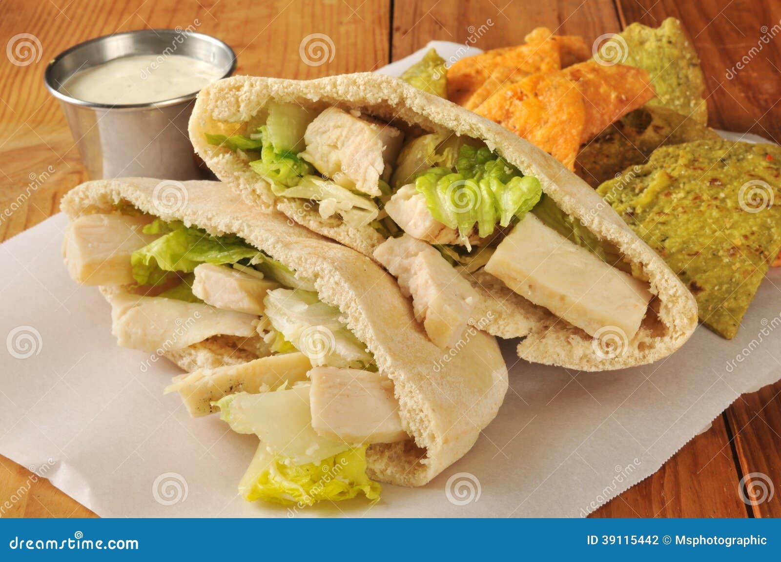 Kippensandwich op Pita Bread