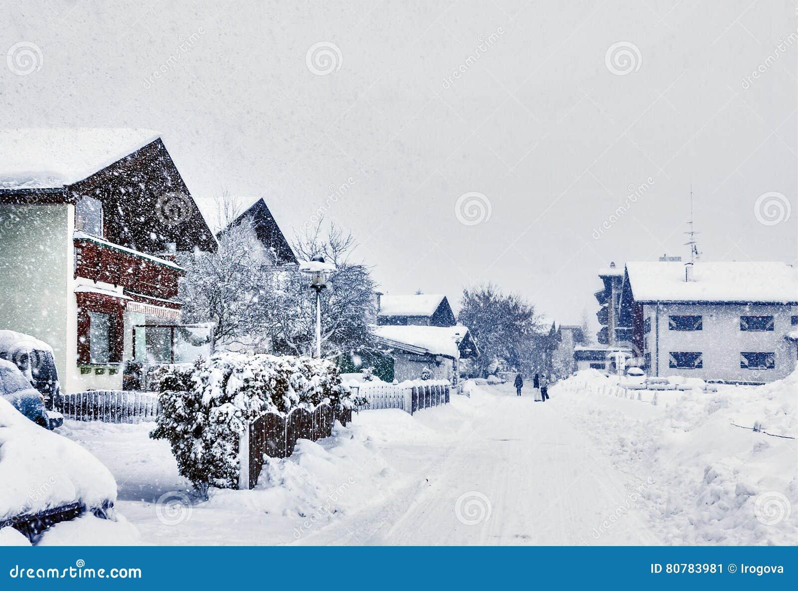 Kirchberg i Tirol, vinter, tungt snöfall