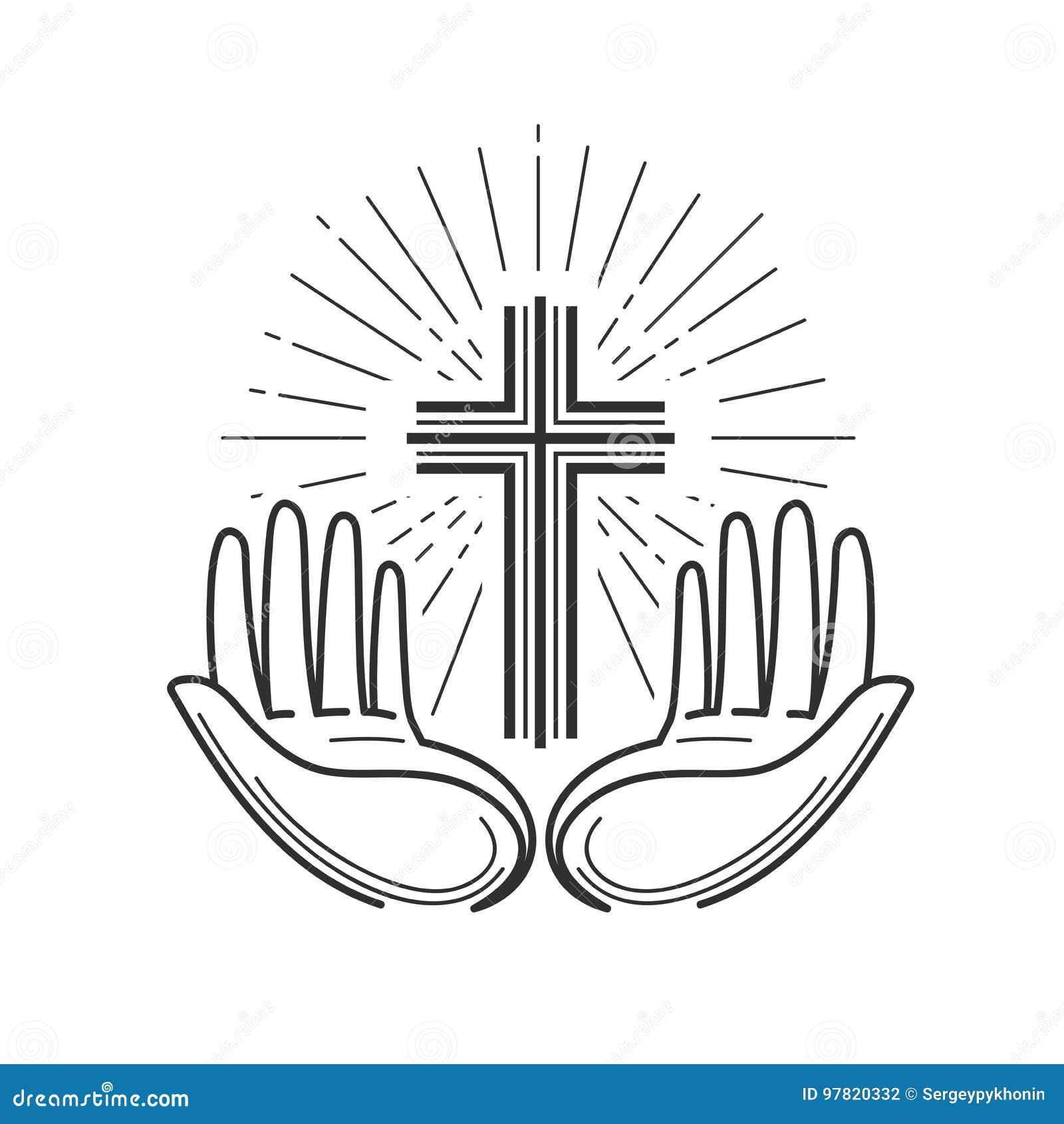 Kirche, Religionslogo Bibel, Kreuzigung, Kreuz, Gebetsikone oder Symbol Lineares Design, Vektorillustration