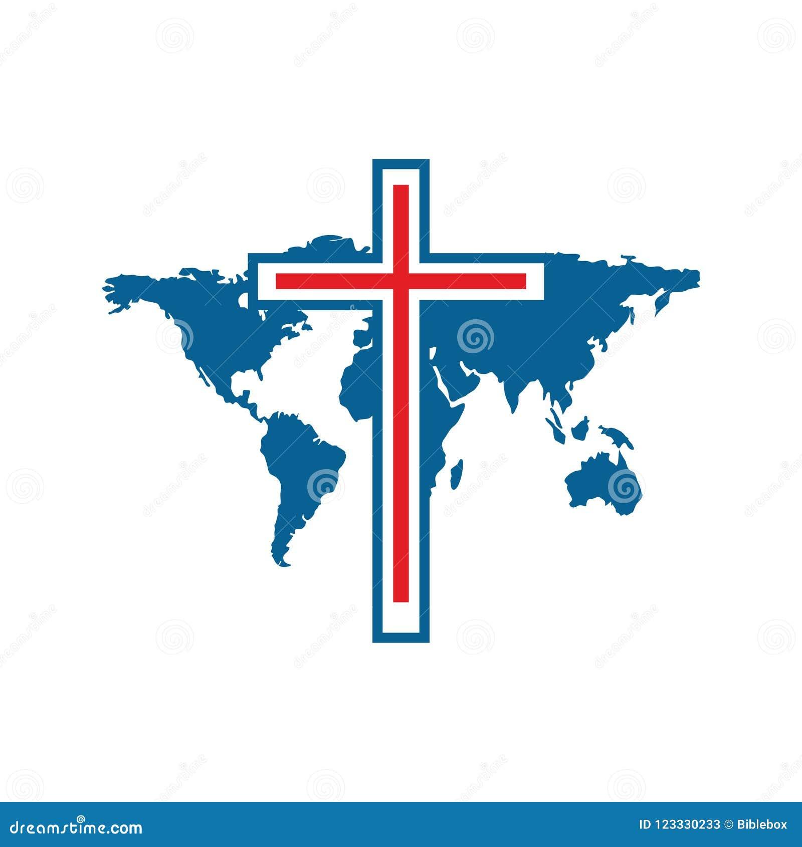 Kreuz Karte.Kirchenlogo Das Kreuz Von Jesus Und Die Karte Der Welt Vektor