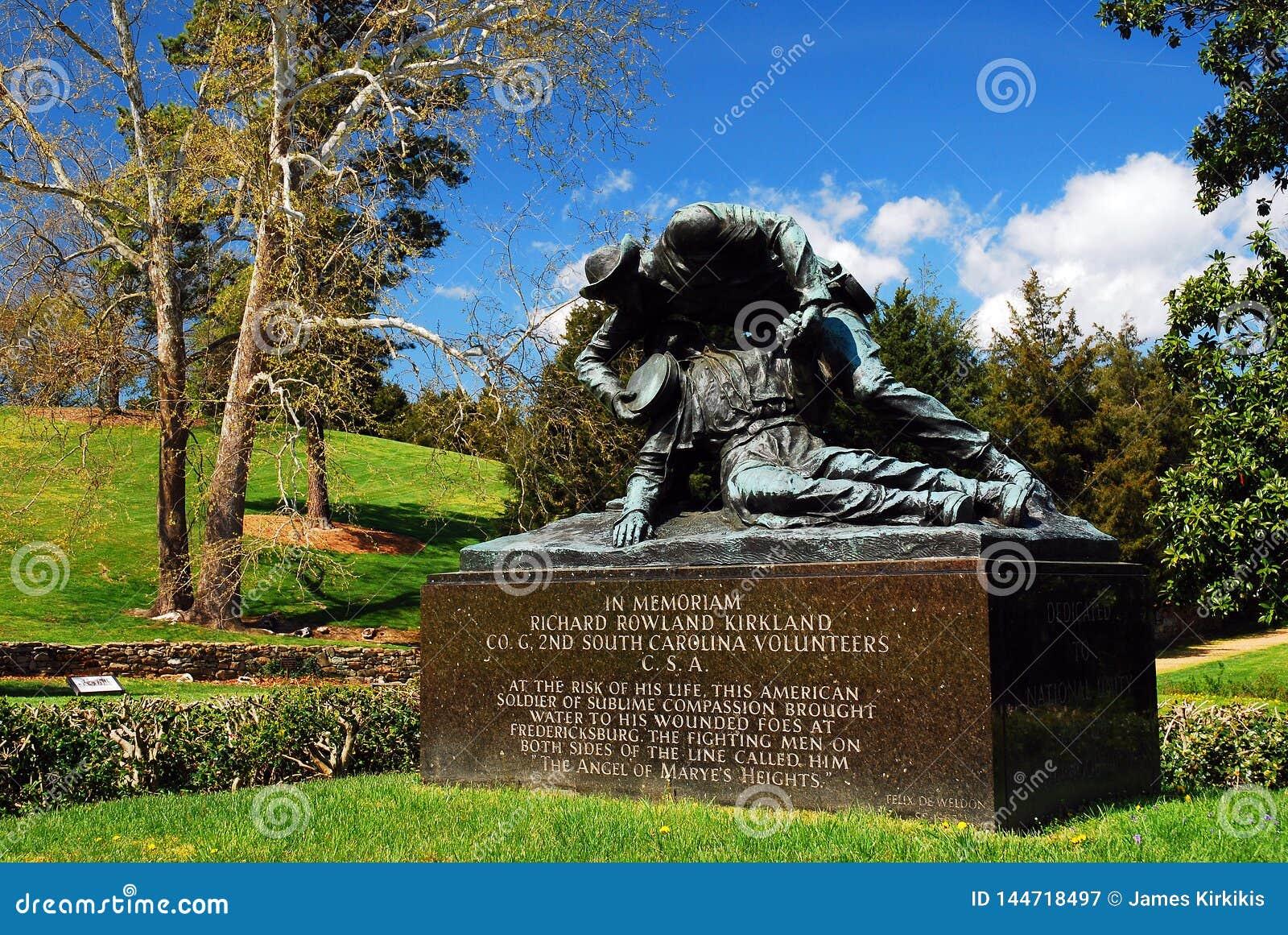 Kirkland Monument en Fredericksburg, un campo de batalla de la guerra civil