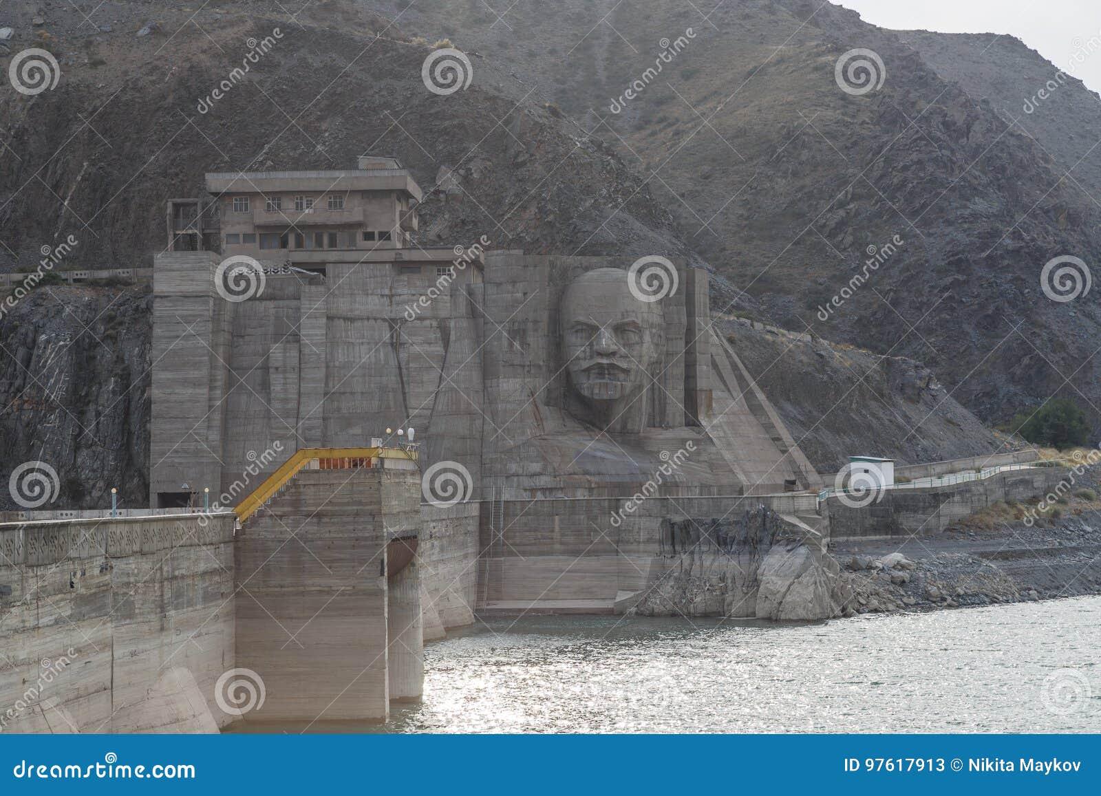 Kirov reservoir dam. Built 1965 - 1975, Lenin`s face on the ad