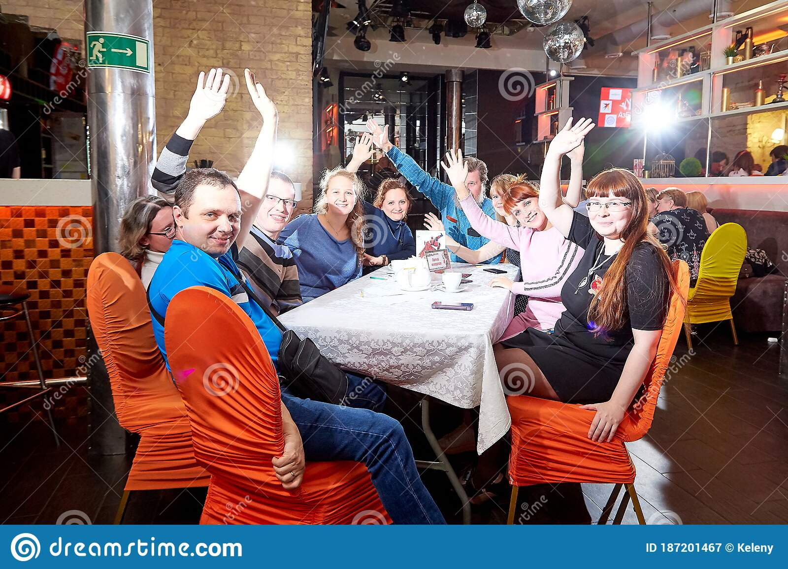 Kirov Russia October 02 2019 People At Tables In Cafe Or Restaurant Posing For Photographer During Intellectual Game In Which Editorial Photography Image Of Interior National 187201467