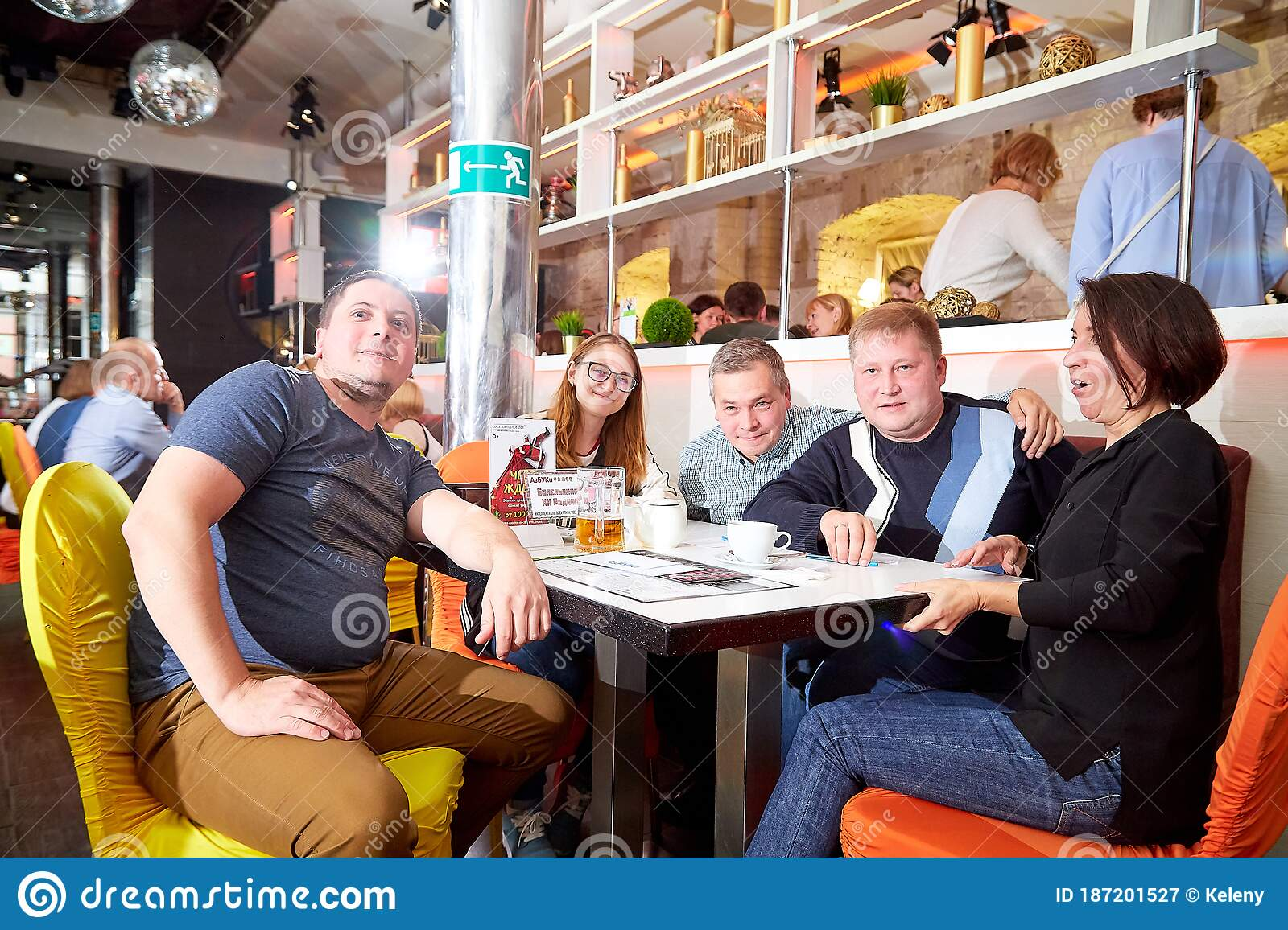 Kirov Russia October 02 2019 People At Tables In Cafe Or Restaurant Posing For Photographer During Intellectual Game In Which Editorial Photography Image Of Food Dinner 187201527
