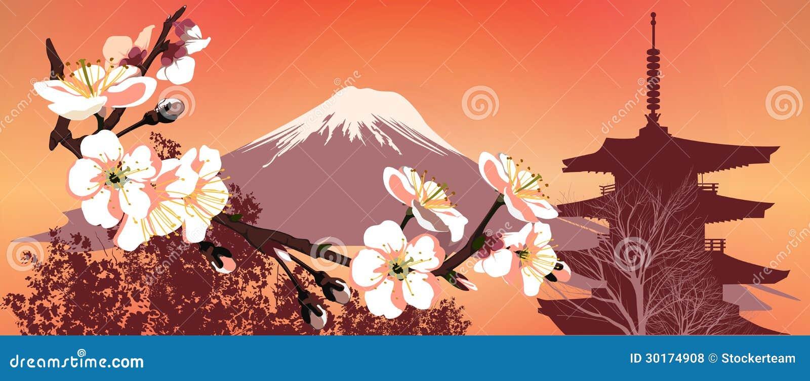 kirschblte berge und japanische huser - Japanische Huser