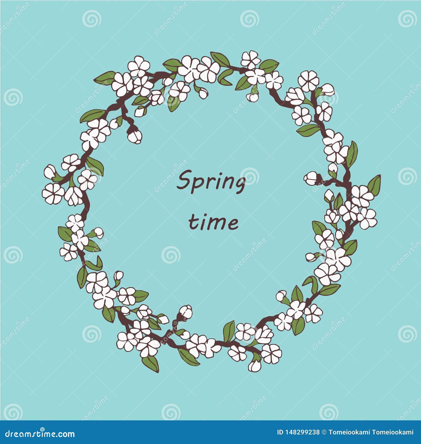 Kirschblüte-Postkarte Vektorfrühlings-Postkartenschablone Fr?hlingszeit? Rosenbl?tter, nat?rlicher Hintergrund Fr?hling