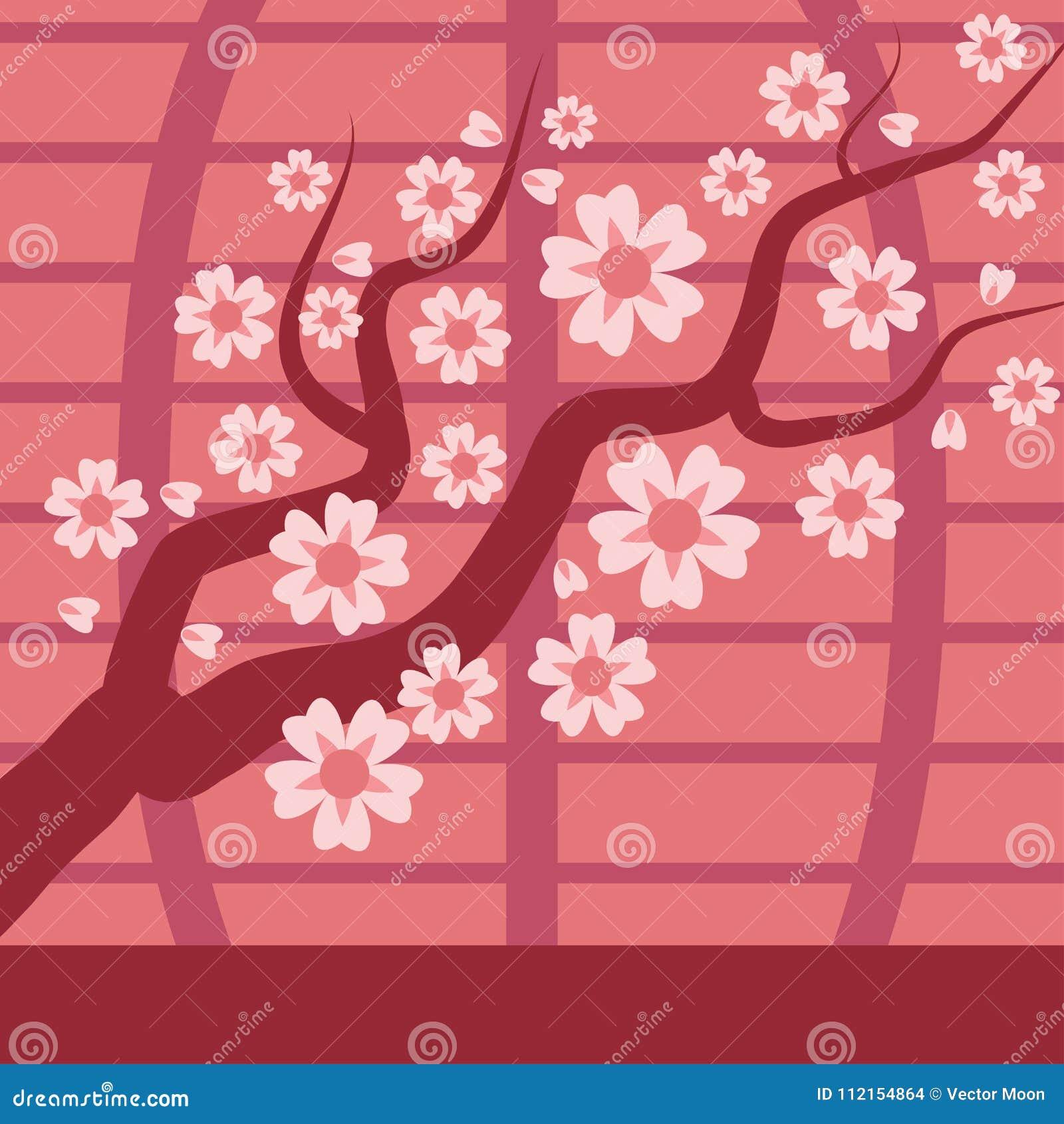 Kirschniederlassungs-Vektorbaum Kirschblütes Japan mit dem Blühen blüht Illustration Kirschblume und Rosa Kirschblüte Kirschblüte